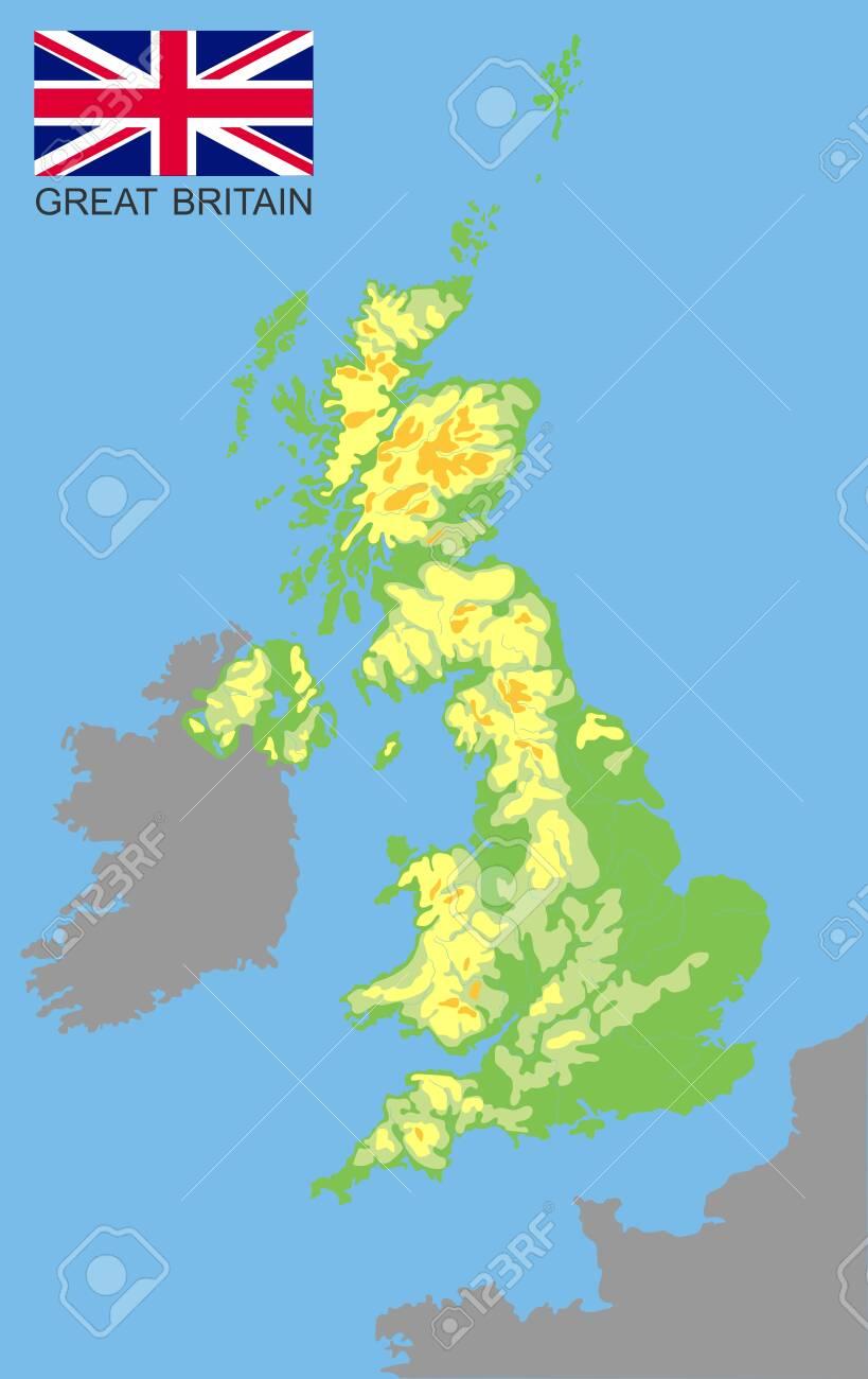 United Kingdom. Great Britan bordered by Ireland and France...
