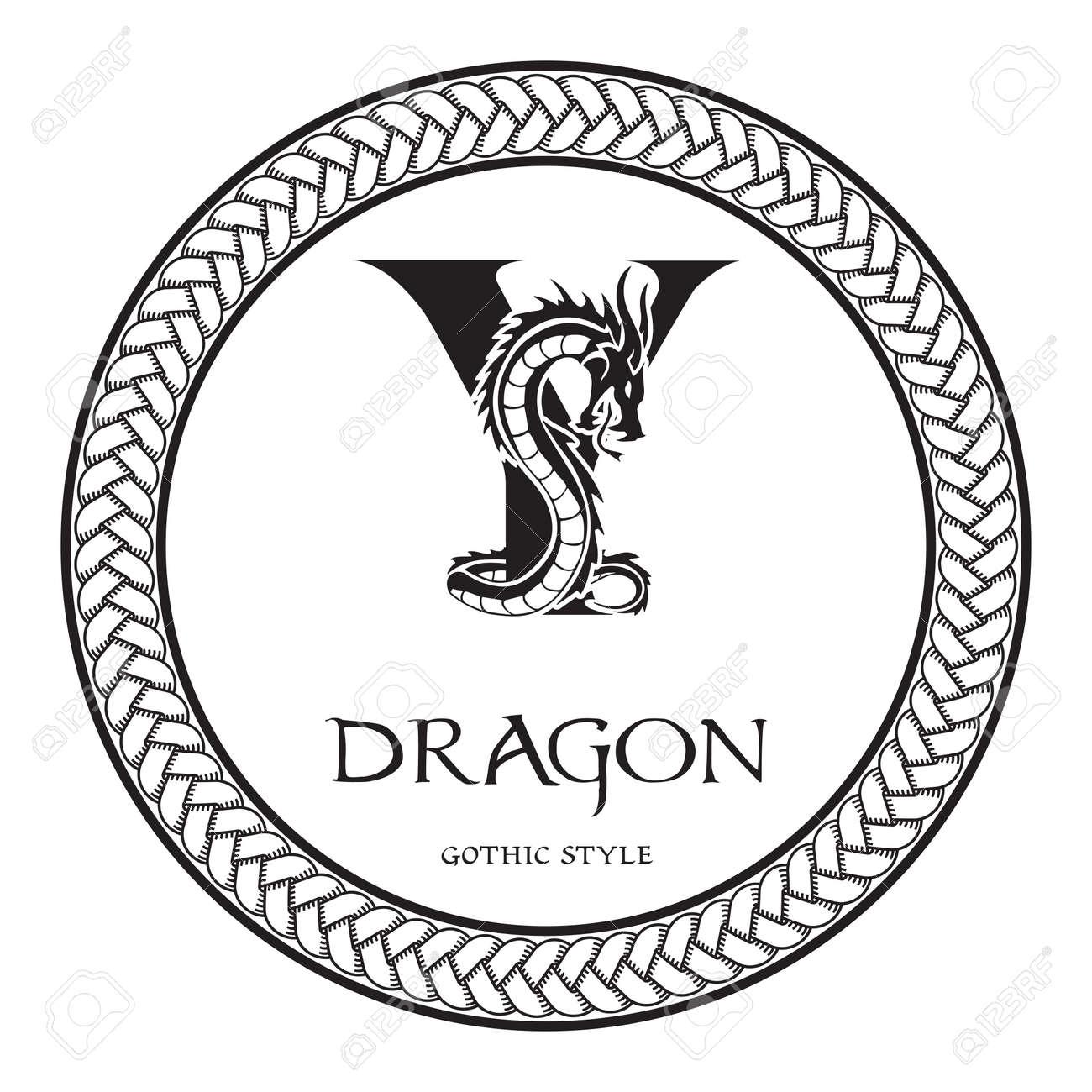 Dragon Silhouette Inside Capital Letter Y. Elegant Gothic Dragon ...