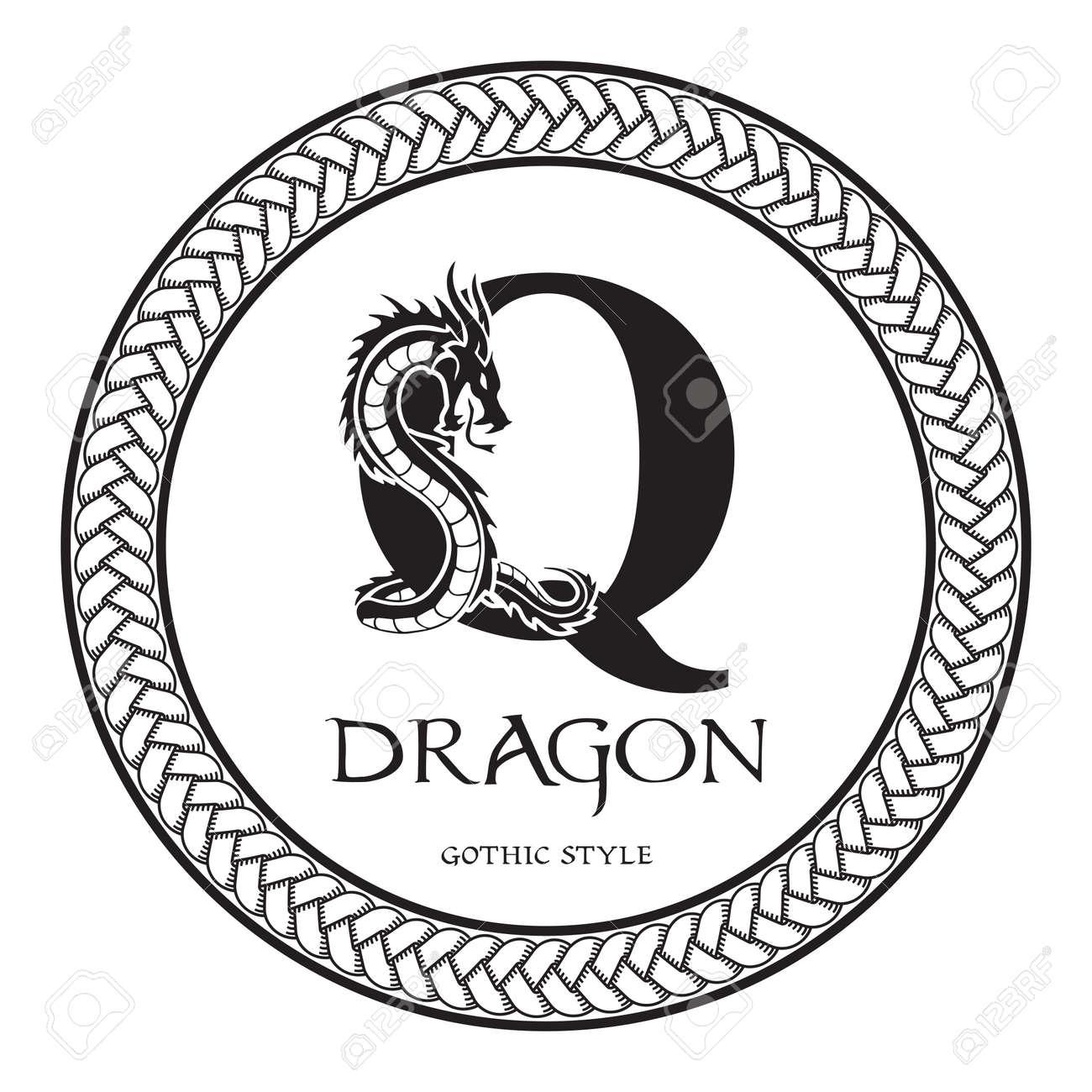 Dragon Silhouette Inside Capital Letter Q. Elegant Gothic Dragon ...