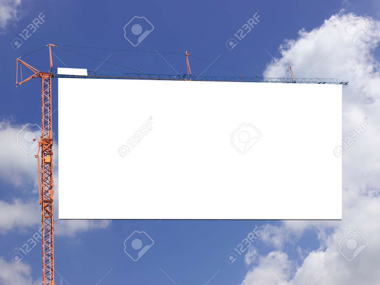 Blank billboard against blue sky on day noon light.. - 155915983