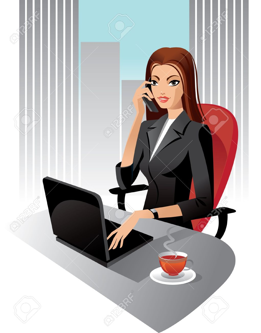 Illustration of business woman in office Stock Vector - 15857925