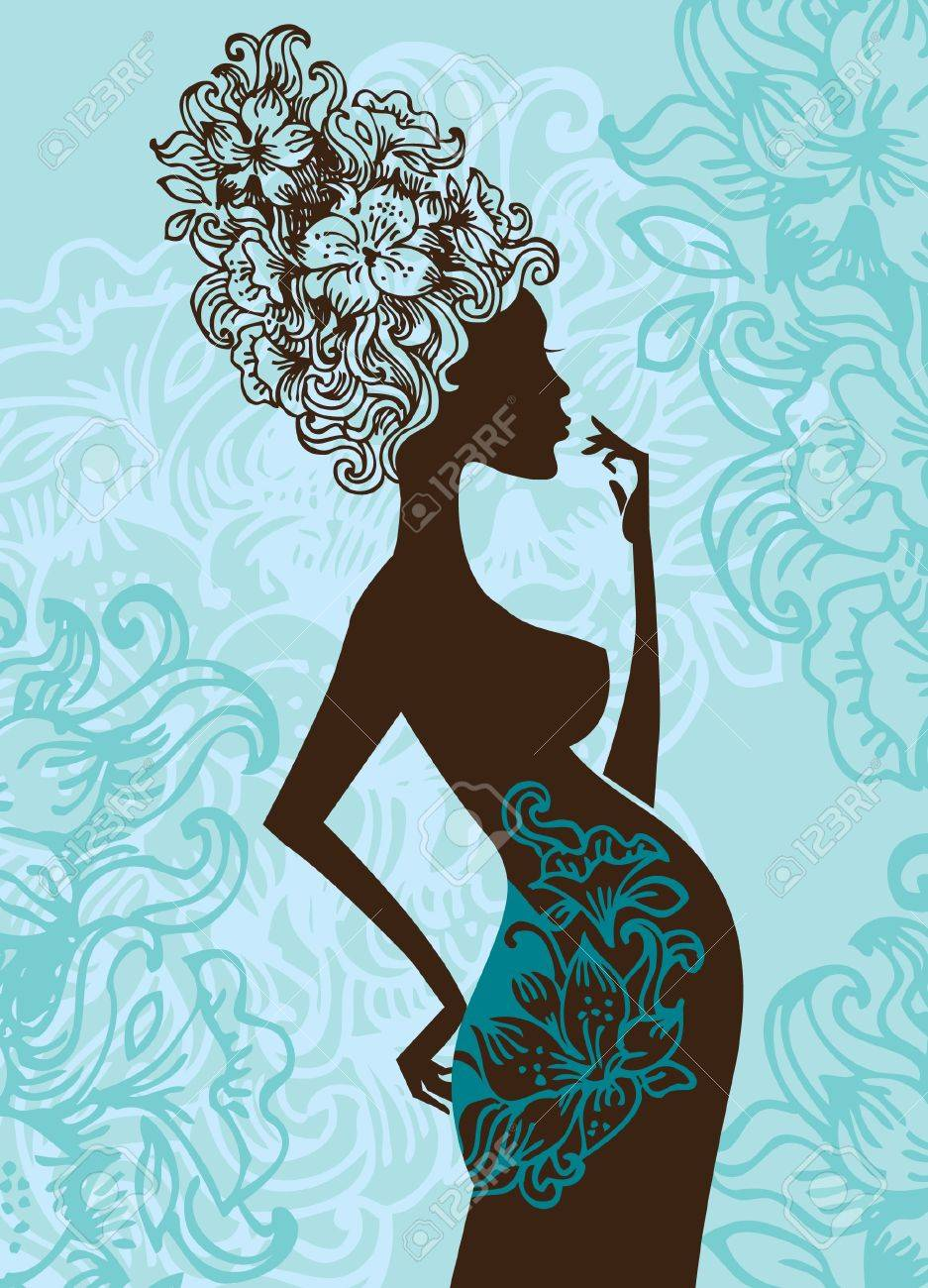 Silhouette of pregnant woman in flowers Stock Vector - 15858369