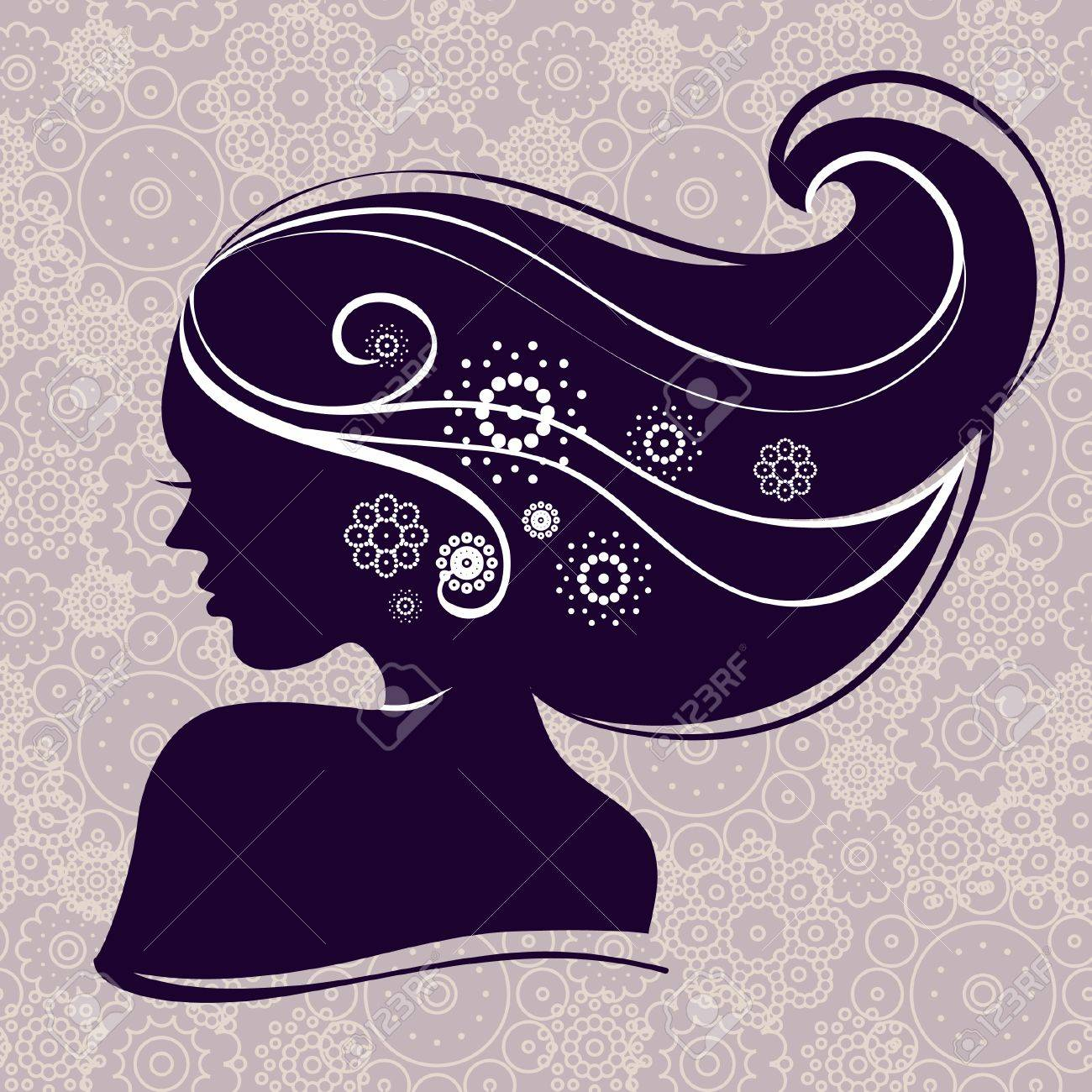 Beautiful woman silhouette with flowers Stock Vector - 15858603