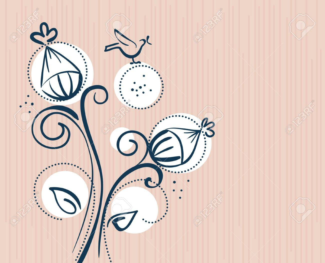 Floral background with cartoon birds Stock Vector - 15858323