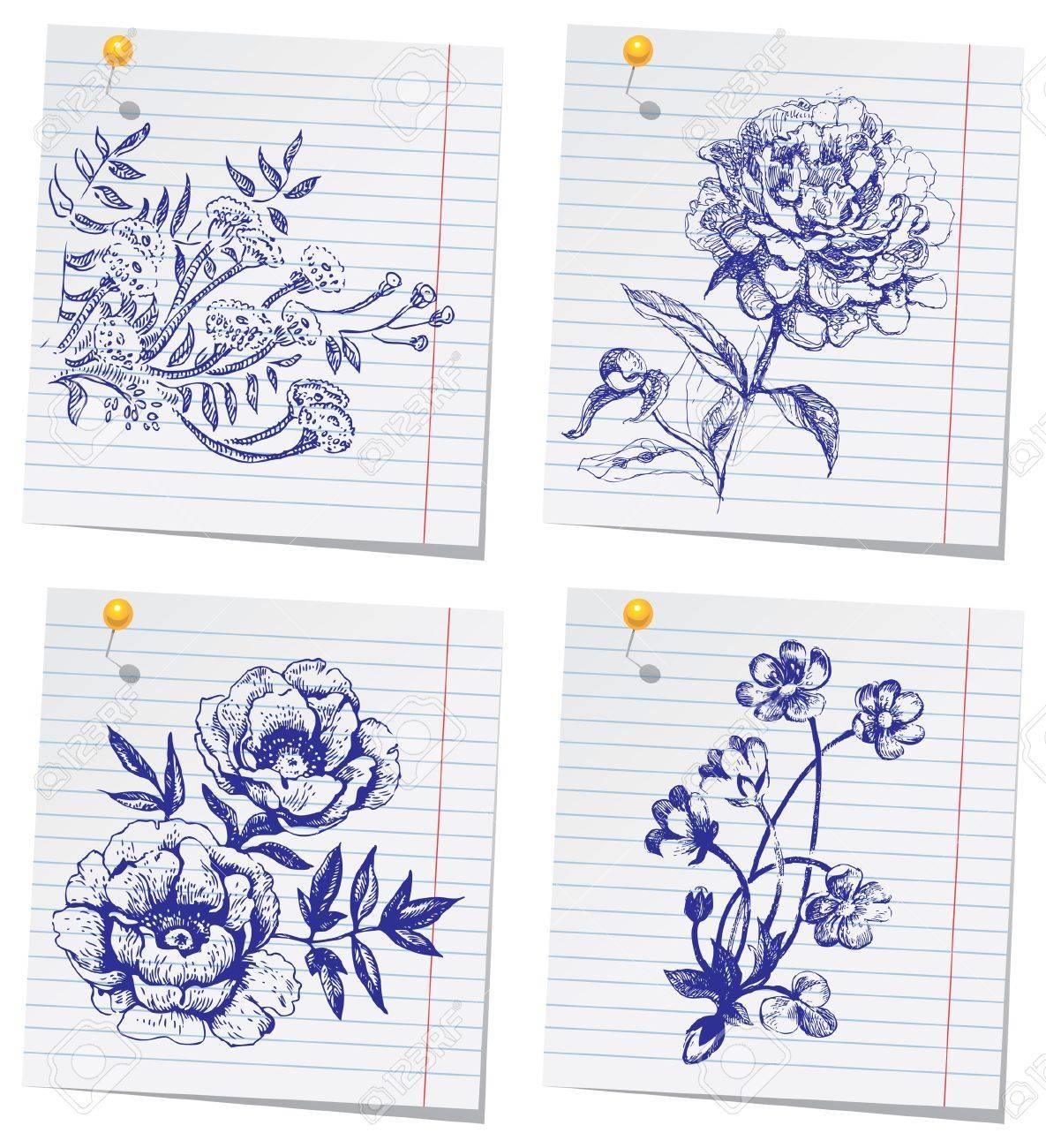 Hand-drawn doodle flower set in sketchbook Stock Vector - 15907420
