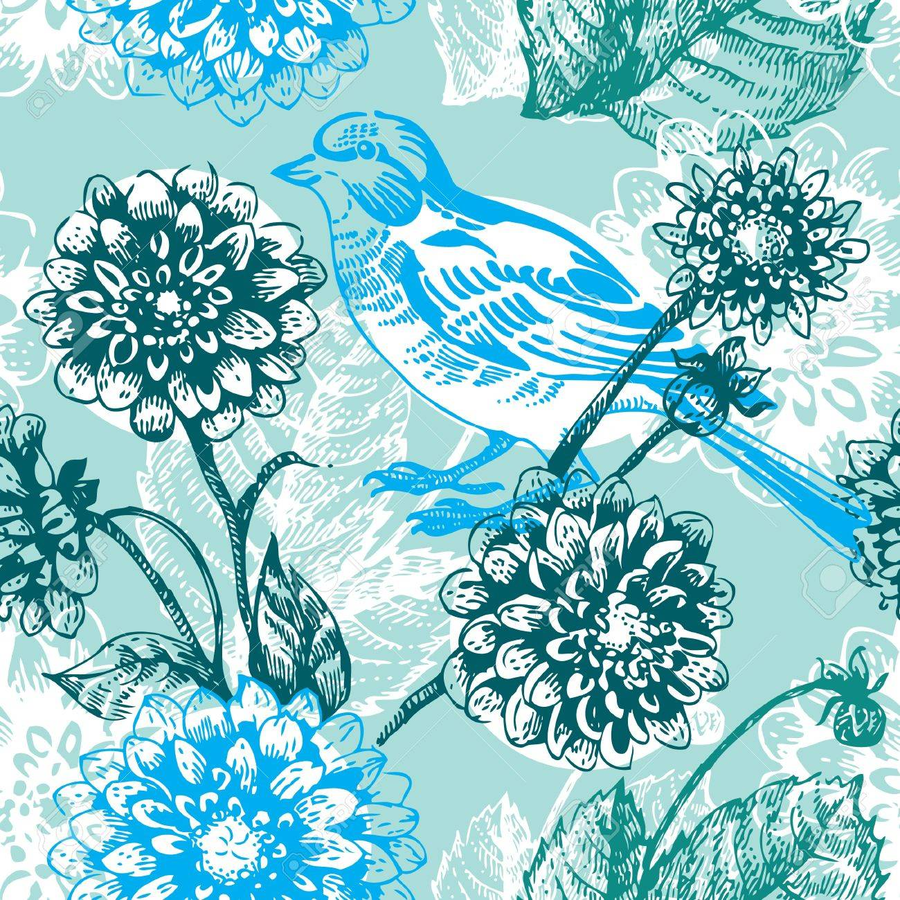 Floral seamless pattern with bird Stock Vector - 15907345