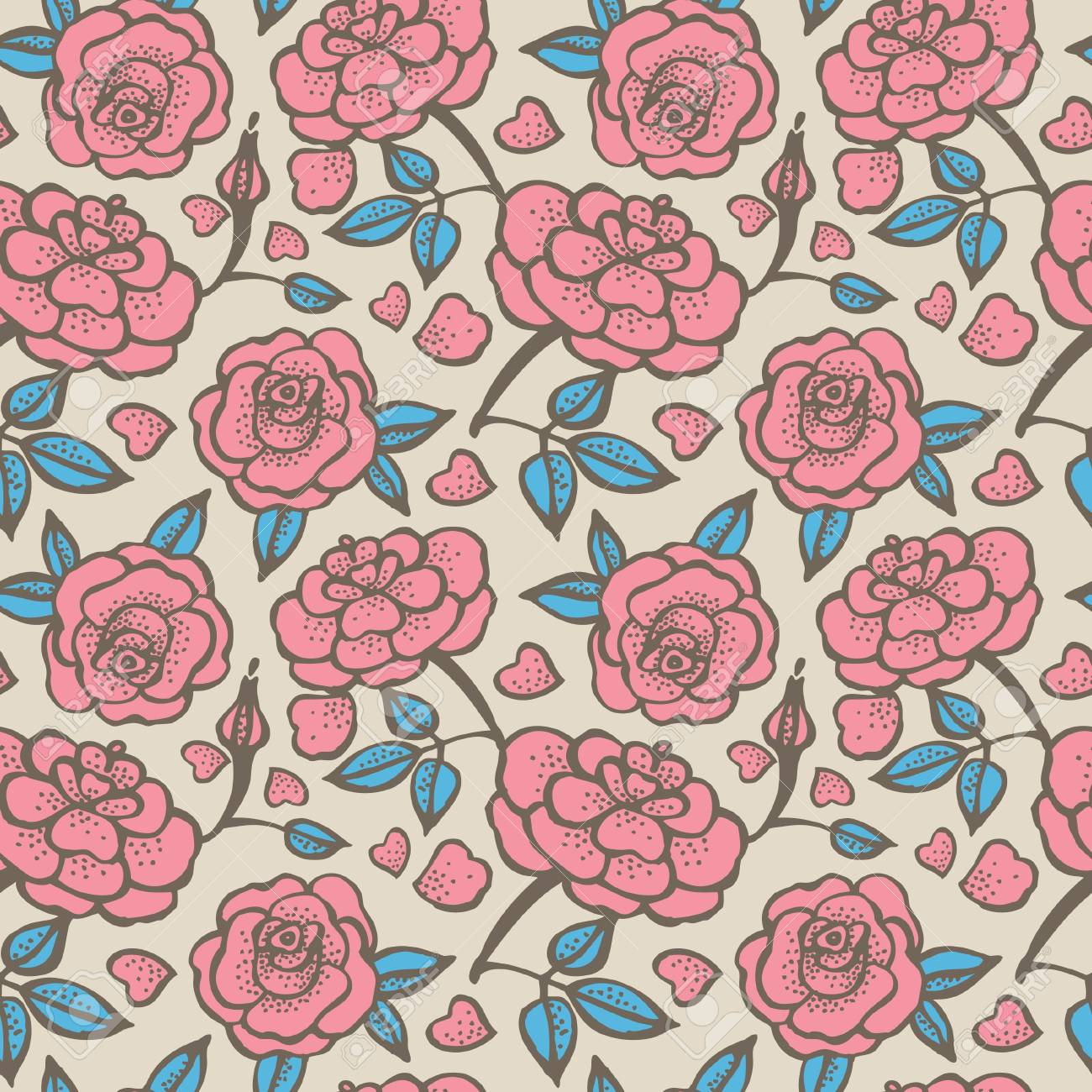Seamless floral pattern with roses Stock Vector - 15907403