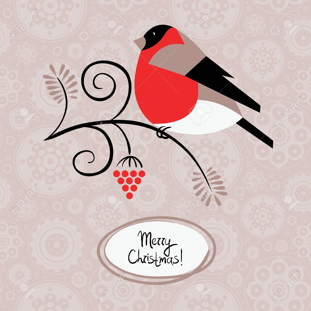 Winter background with bullfinch and ashberry  Christmas card Stock Vector - 16200815
