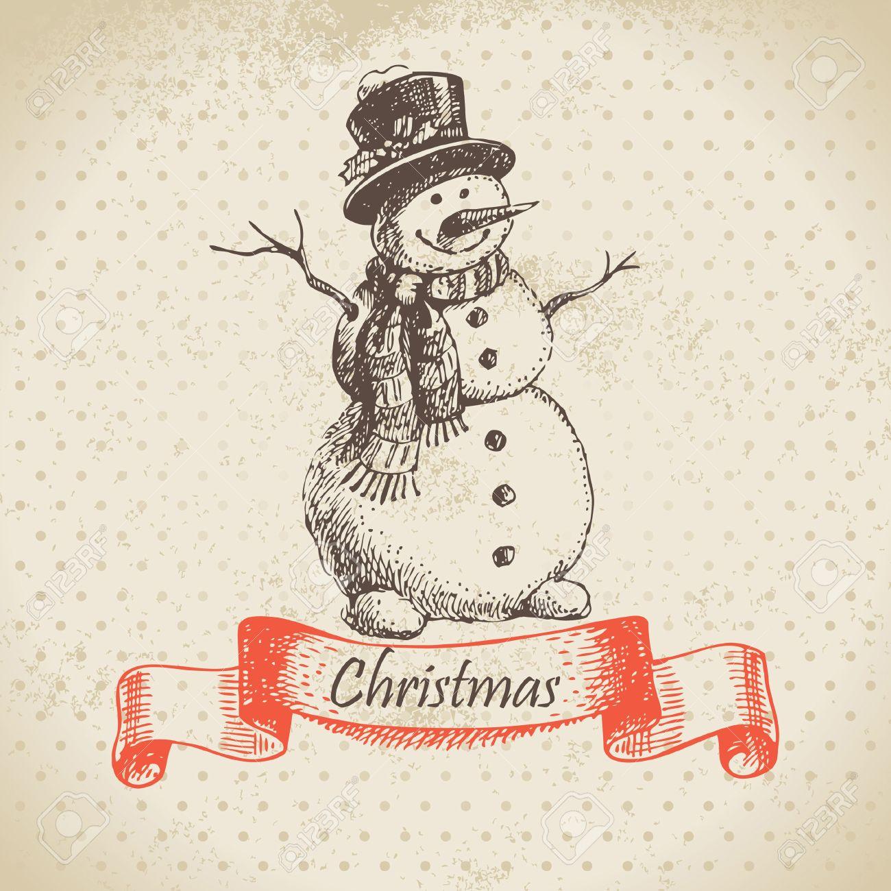 Christmas snowman. Hand drawn illustration Stock Vector - 16200772