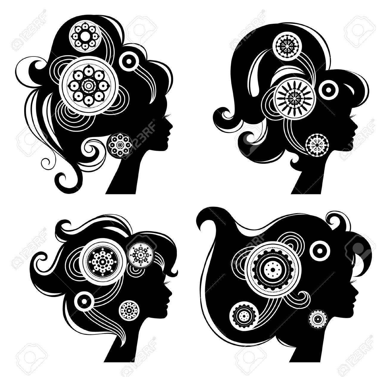 Beautiful women silhouettes Stock Vector - 16201670