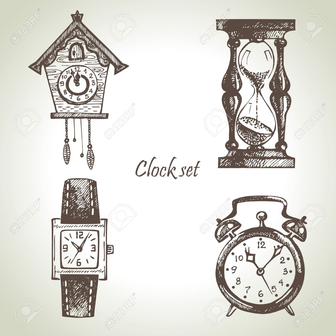 sand timer art. hand drawn set of clocks and watches stock vector 16201285 sand timer art c