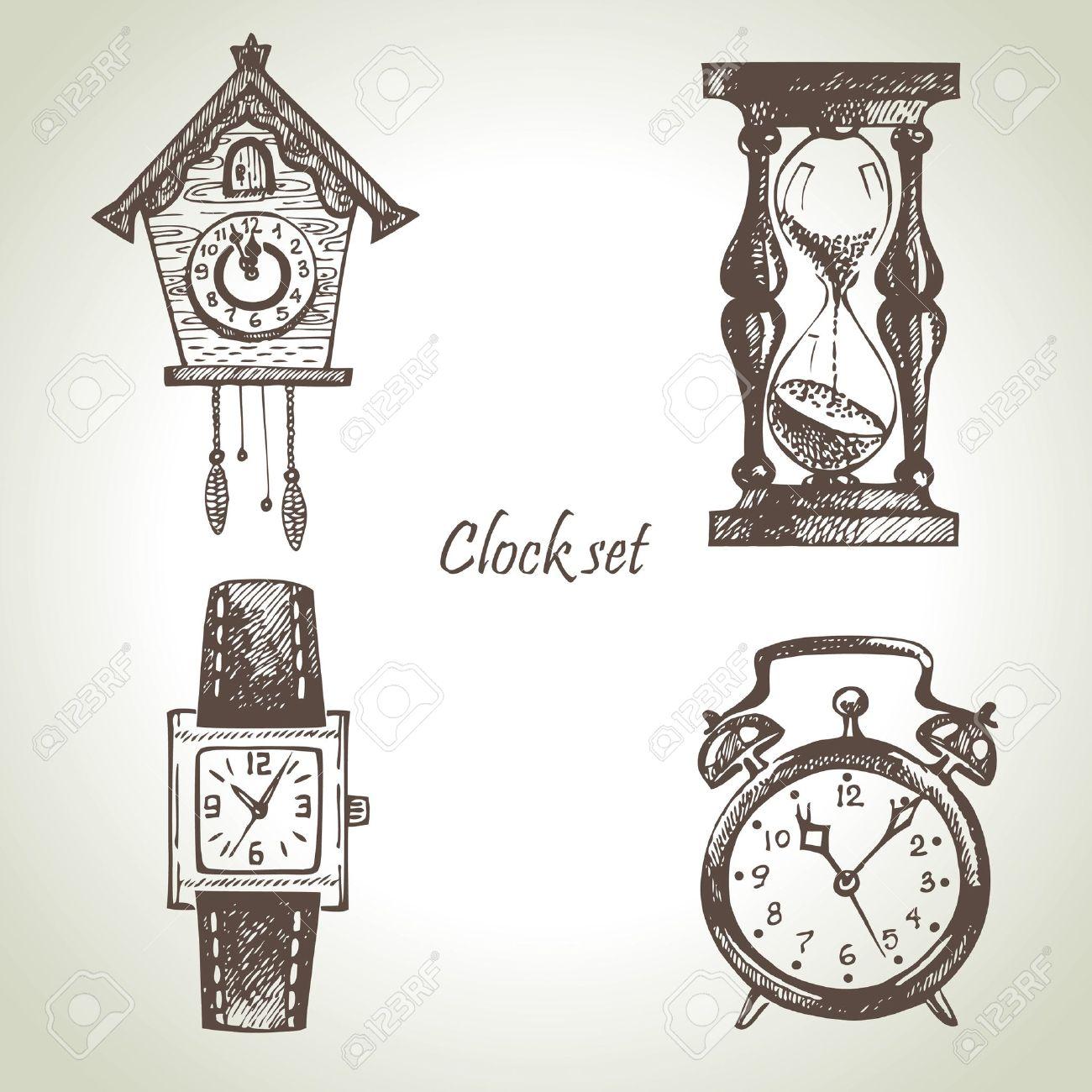 Sanduhr gezeichnet  Hand Gezeichnet Set Von Uhren Lizenzfrei Nutzbare Vektorgrafiken ...