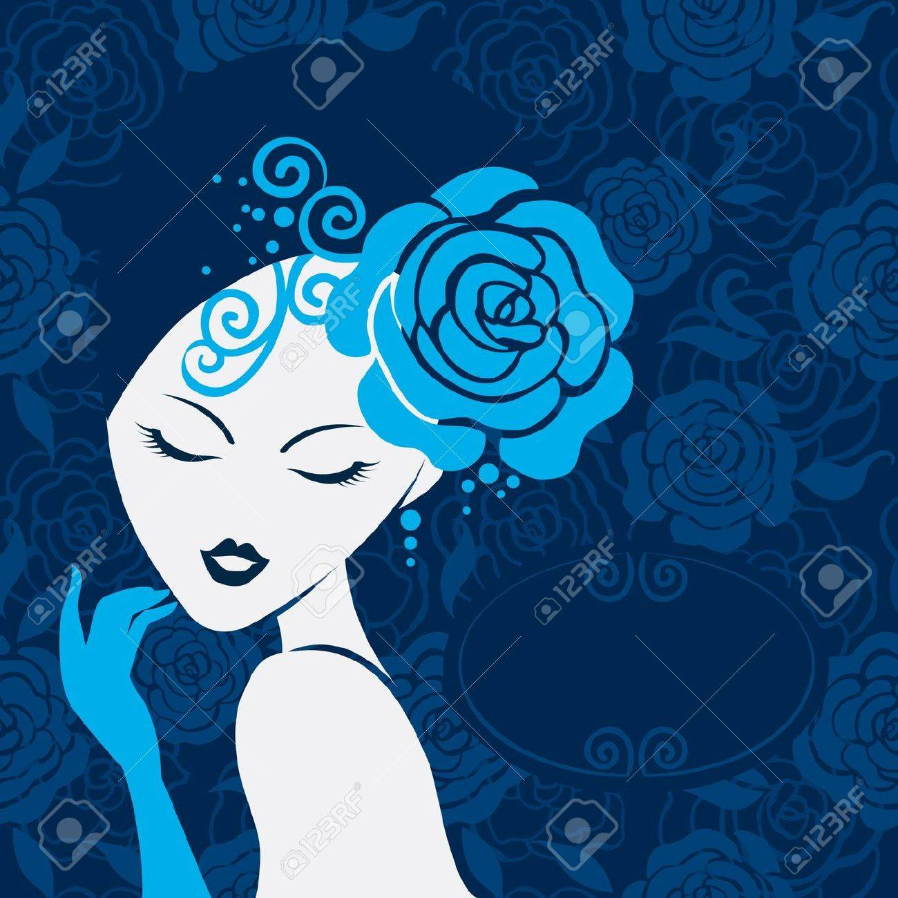 Retro beautiful woman silhouette Stock Vector - 16200952
