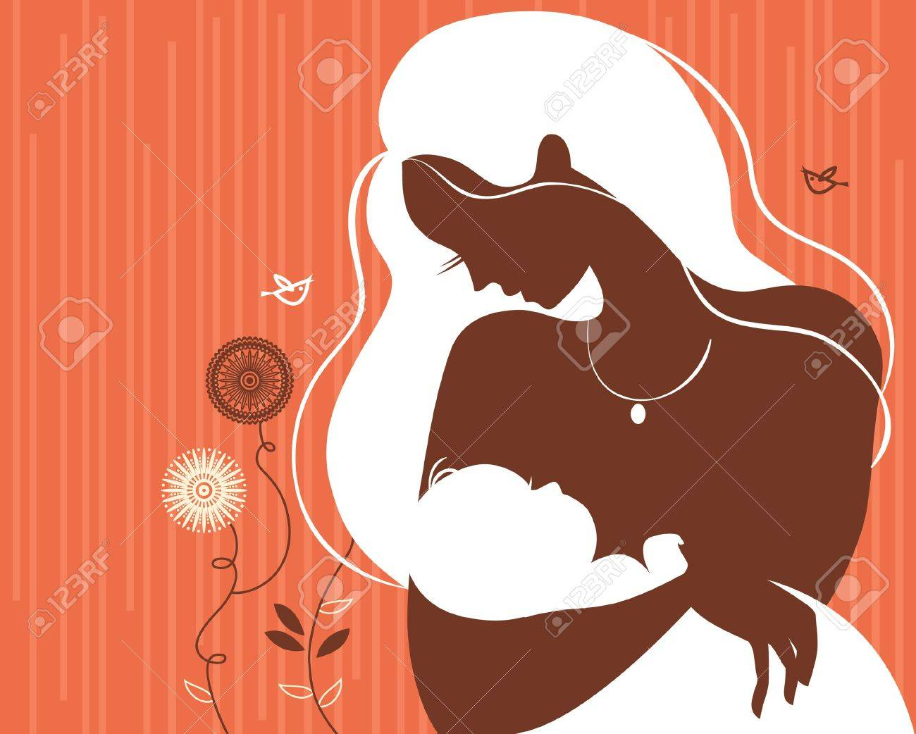 Beautiful mother silhouette with baby Stock Vector - 16200936