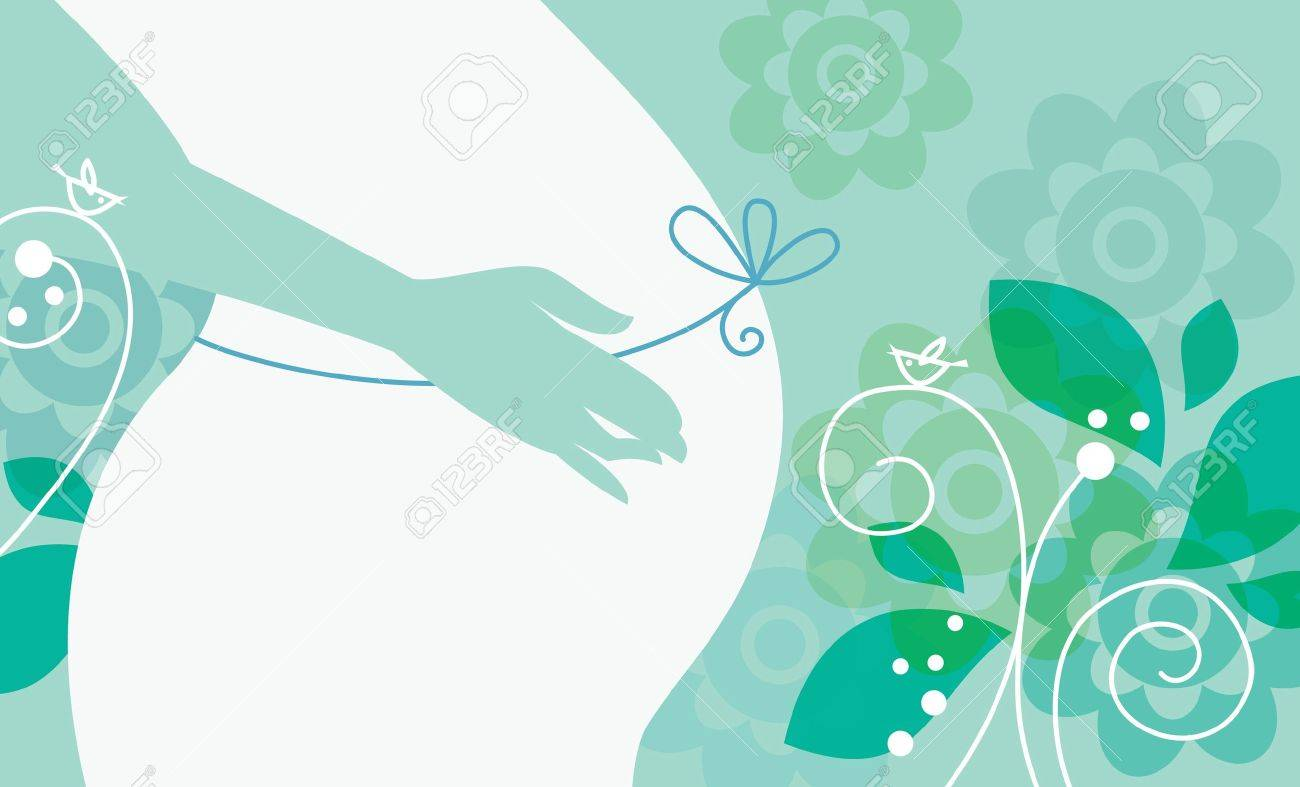 Silhouette of pregnant woman in spring Stock Vector - 16201596