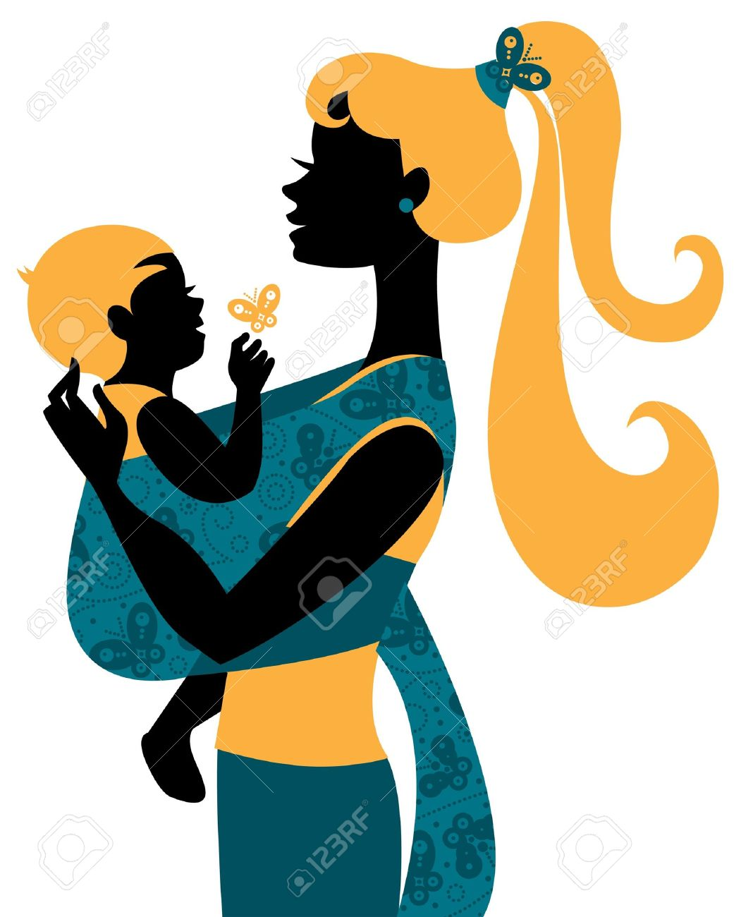Beautiful mother silhouette with baby in a sling Stock Vector - 16200961