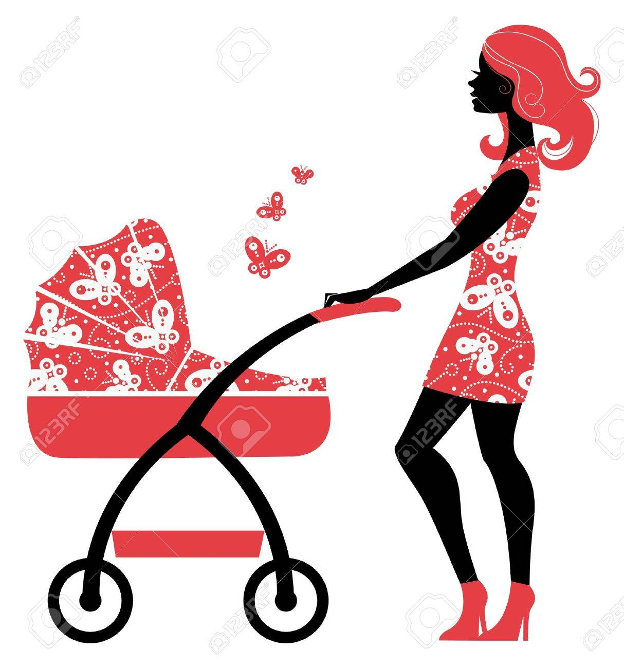 Silhouette of beautiful mother with baby carriage Stock Vector - 16312997