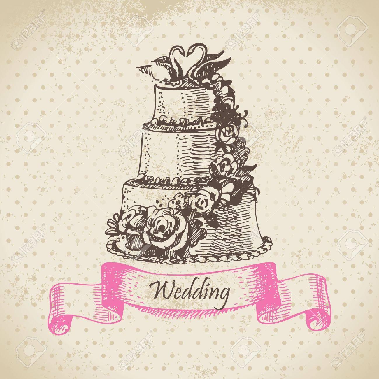 Wedding cake. Hand drawn illustration Stock Vector - 16790082