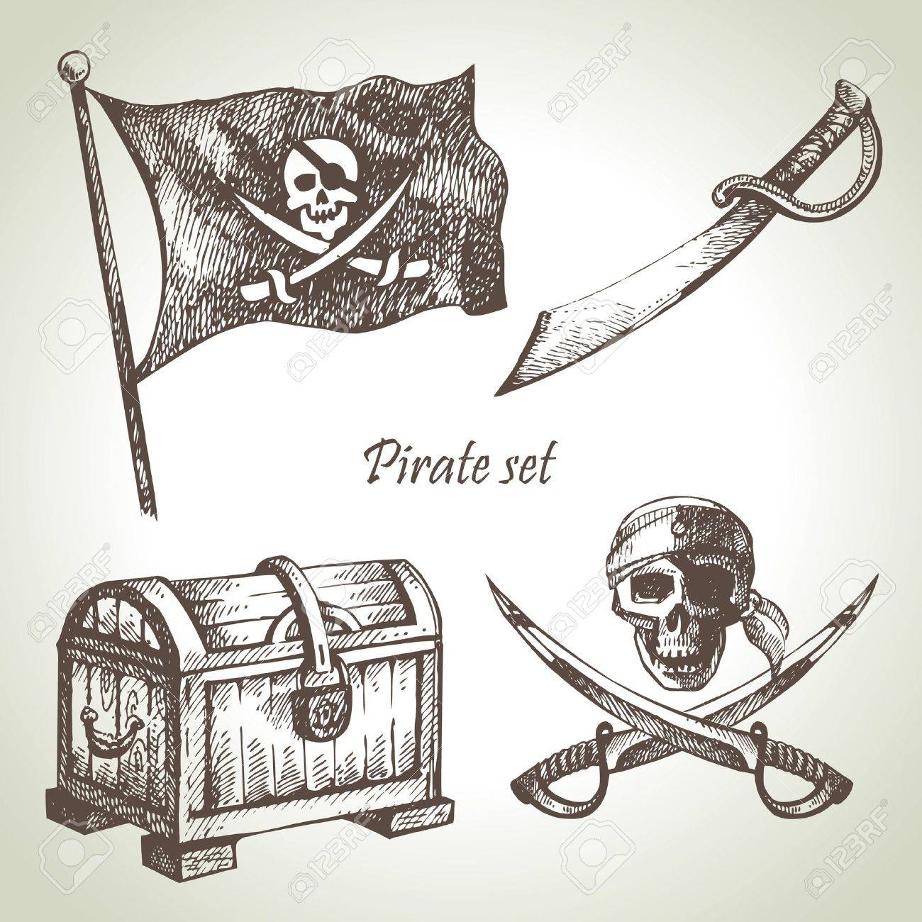 Pirates set. Hand drawn illustrations Stock Vector - 17126169
