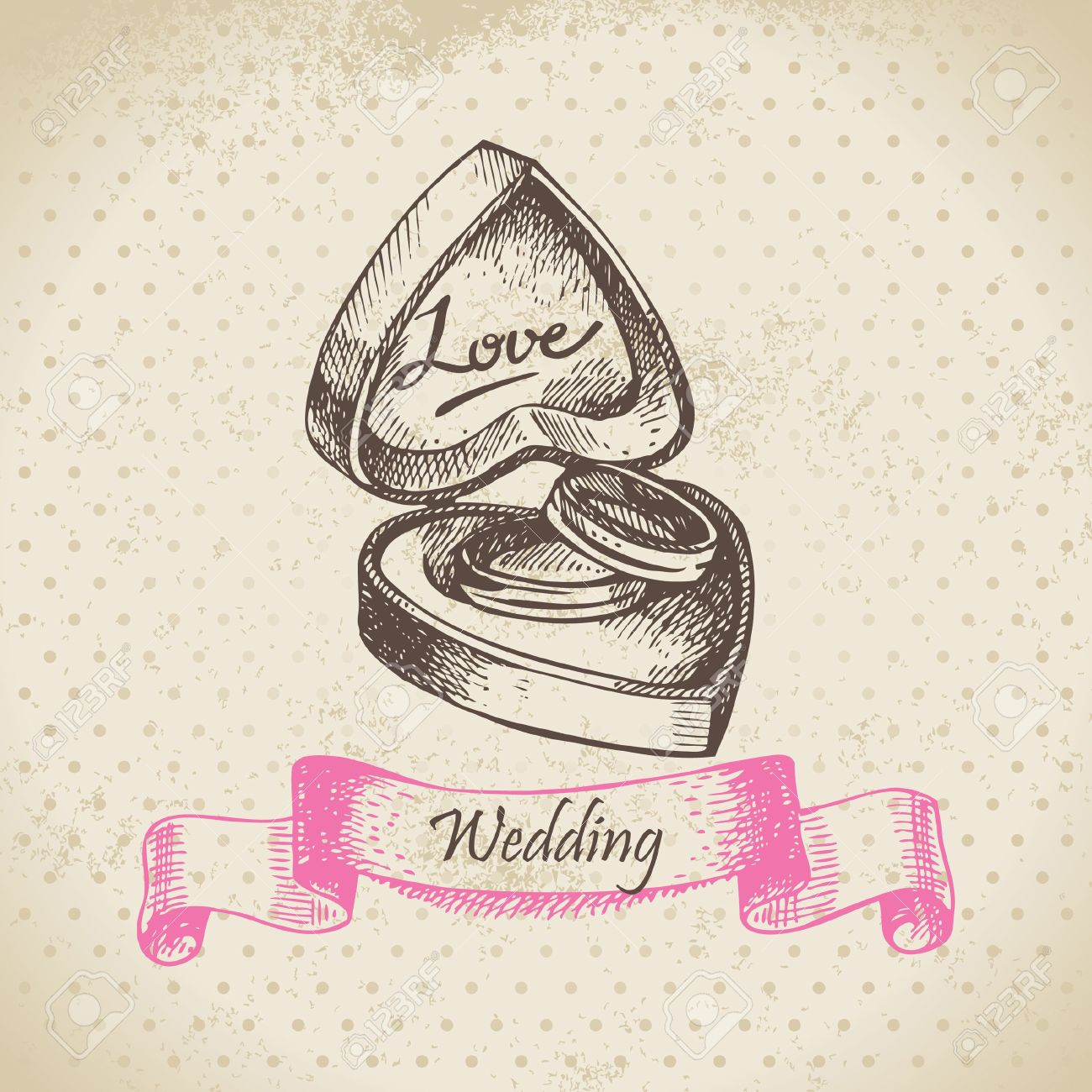 Box With Wedding Rings Hand Drawn Illustration Royalty Free