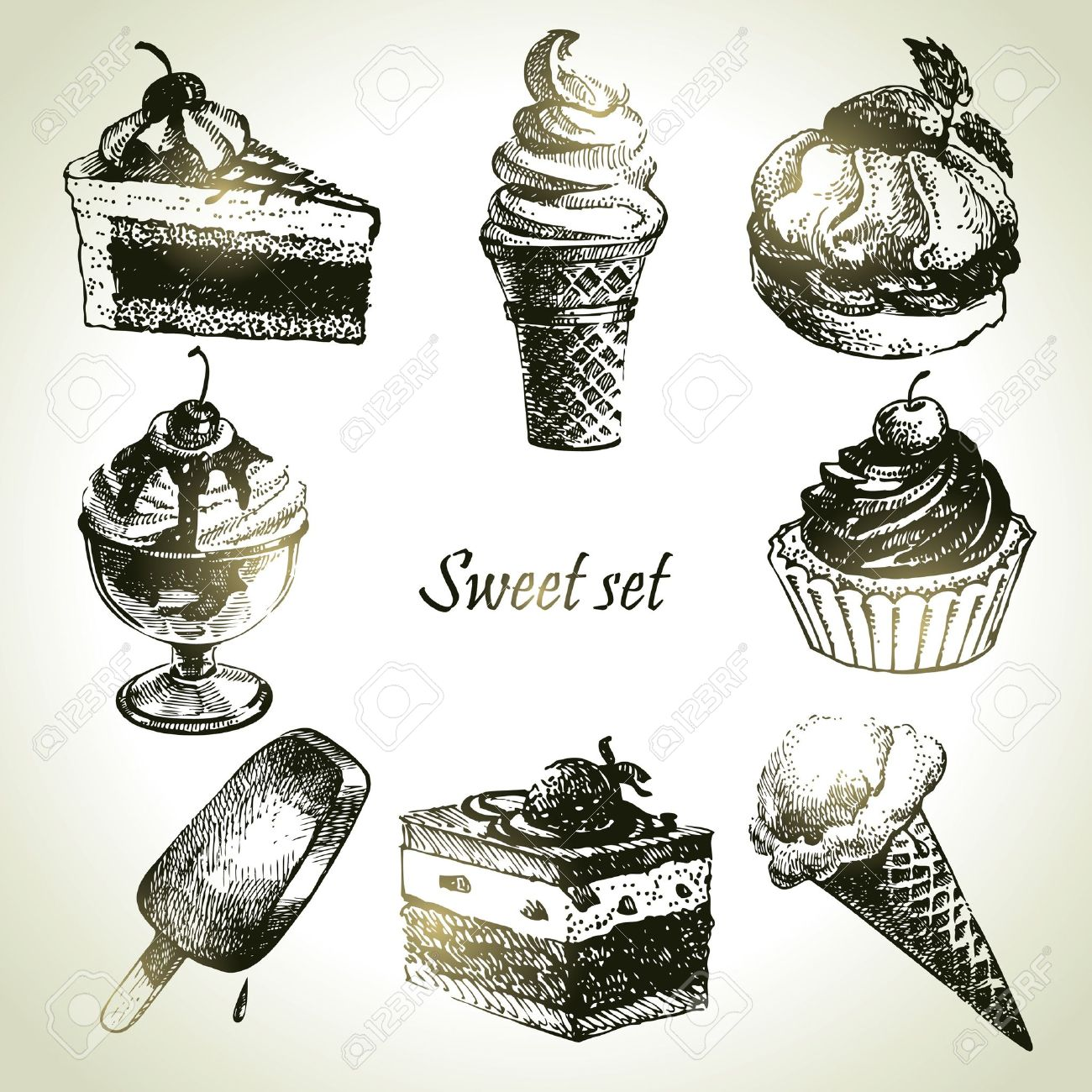 Sweet set. Hand drawn illustrations of cake and ice cream Stock Vector - 18002375