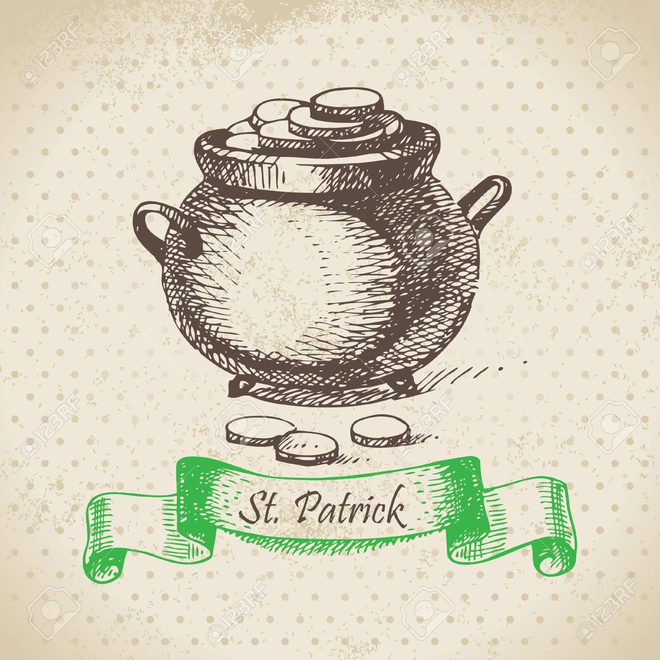 St. Patrick's Day vintage background. Hand drawn illustration Stock Vector - 18002424