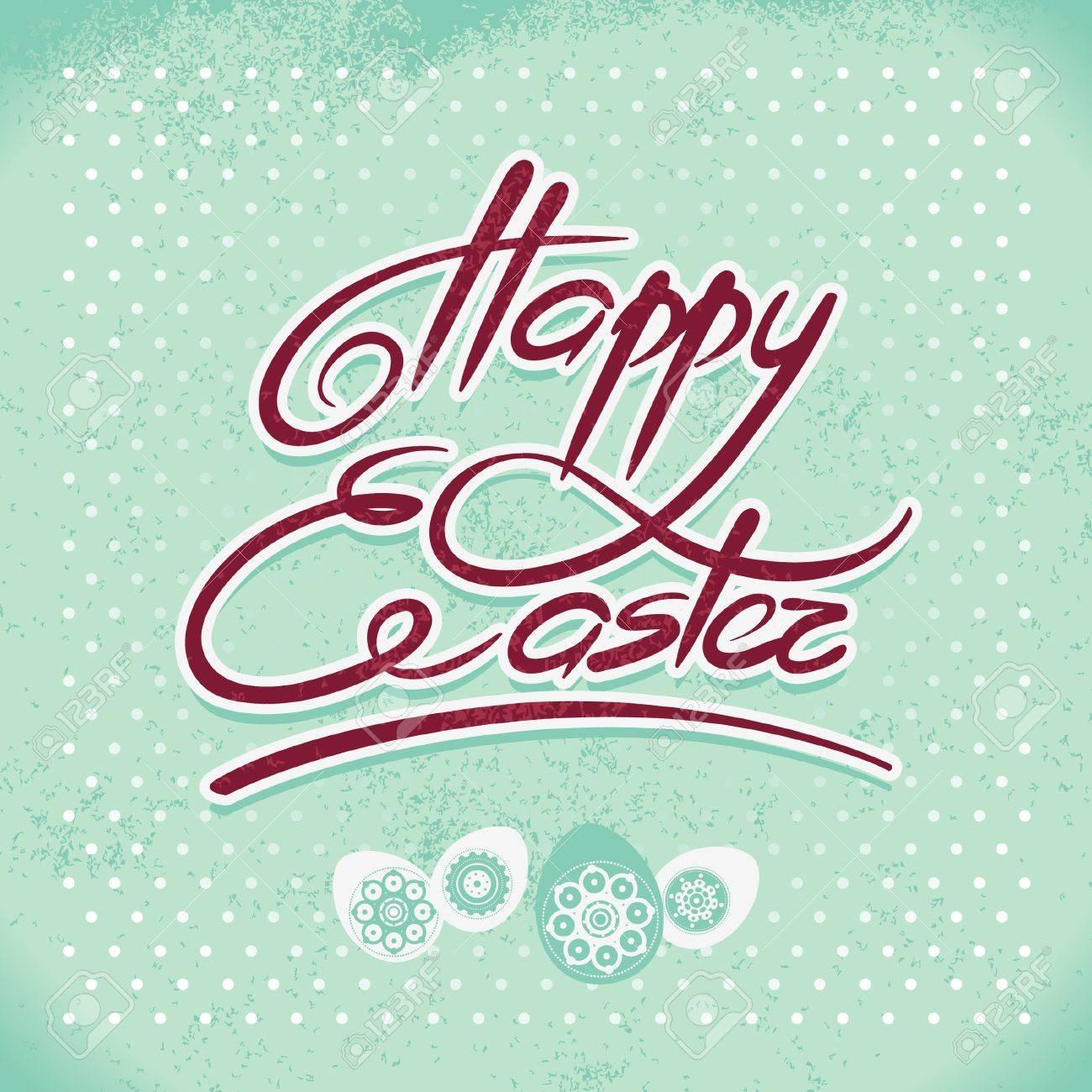 Happy Easter, hand lettering. Handmade calligraphy Stock Vector - 18002461