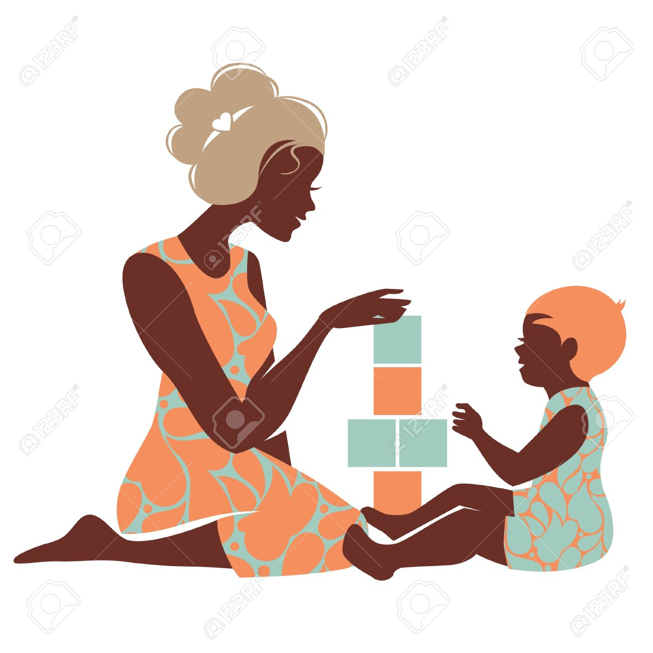 Beautiful Silhouette Of Mother And Baby Playing With Toys Happy