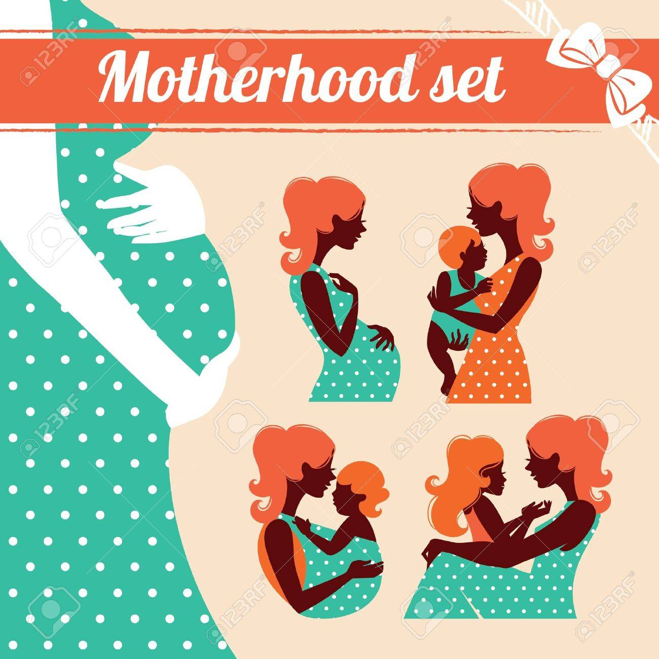 Motherhood set. Silhouettes of mother and baby Stock Vector - 18435920