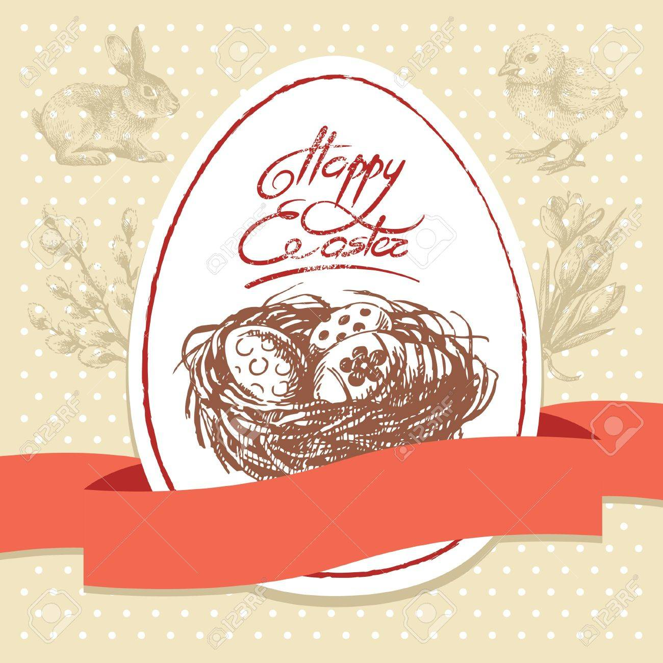 Vintage Easter background, hand drawn illustration. Easter greeting card Stock Vector - 18435933