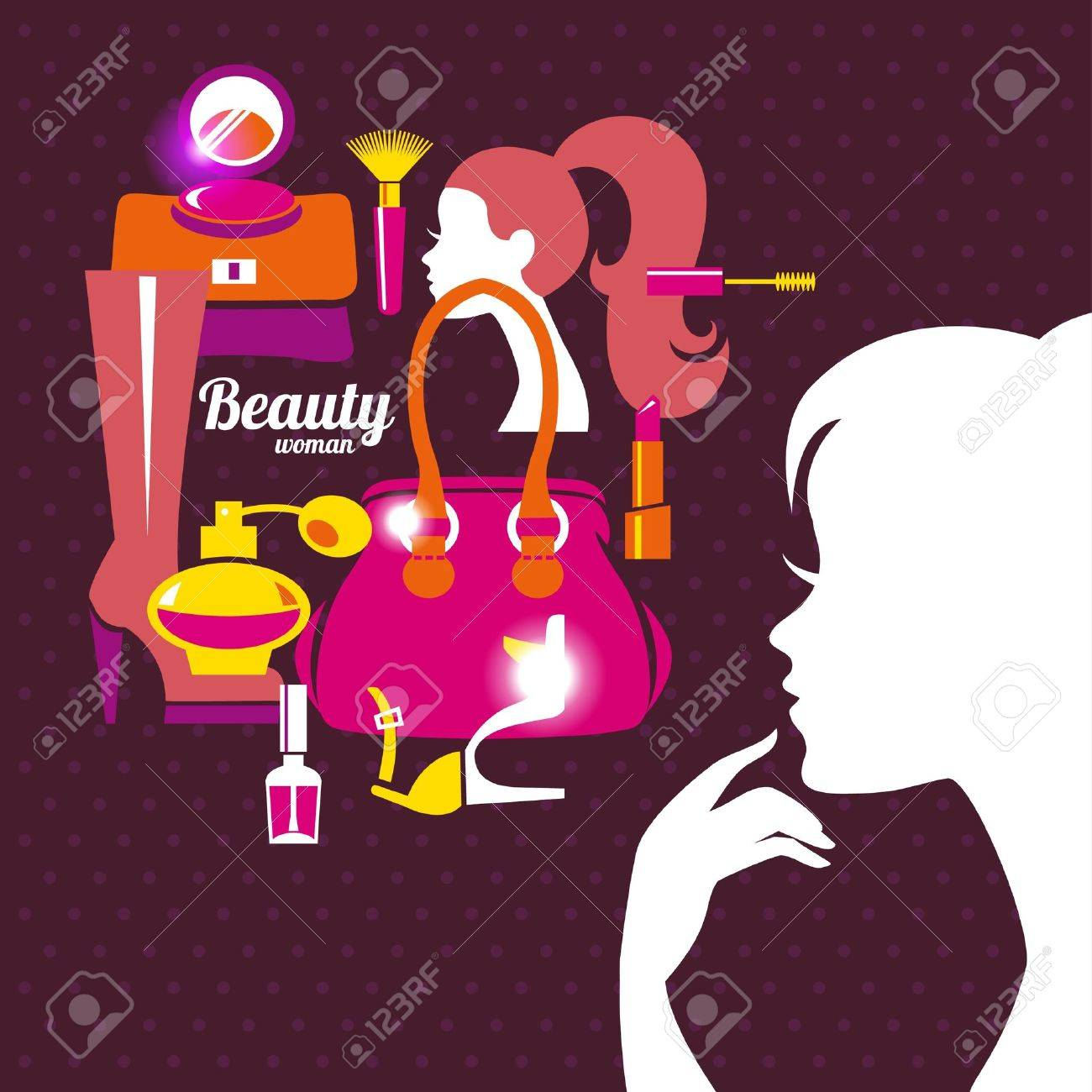 Beautiful woman silhouette with fashion icons. Shopping girl. Elegant stylish design Stock Vector - 18813677