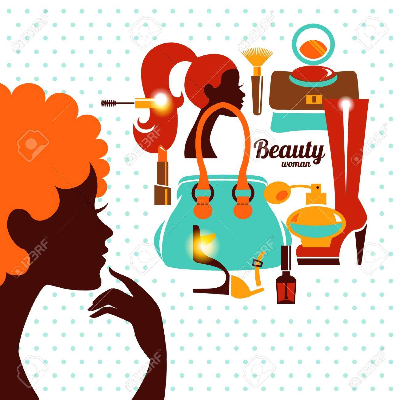 Beautiful woman silhouette with fashion icons. Shopping girl. Elegant stylish design Stock Vector - 18813685