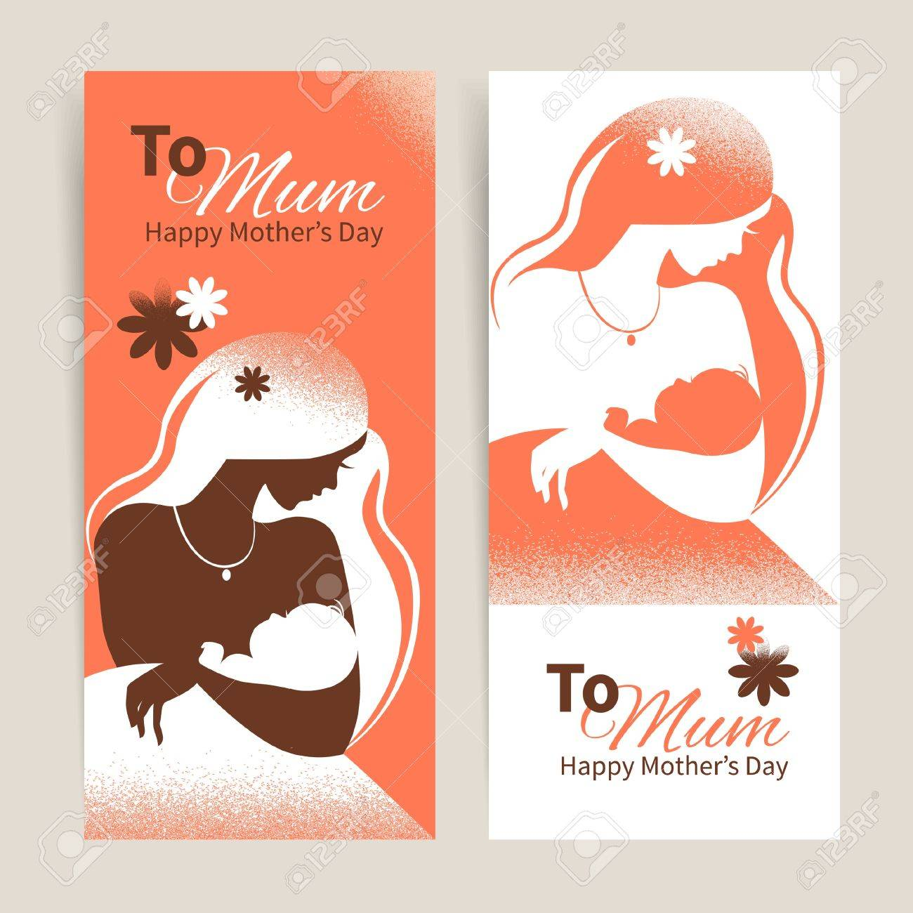 Banners with with beautiful silhouette of mother and baby in retro style. Cards of Happy Mother's Day Stock Vector - 18815590