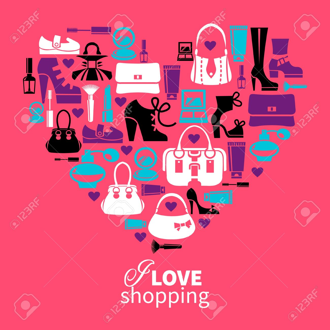 d2a23b1a5c0e Shopping love - heart with set of vector fashion women's icons Stock Vector  - 19351981