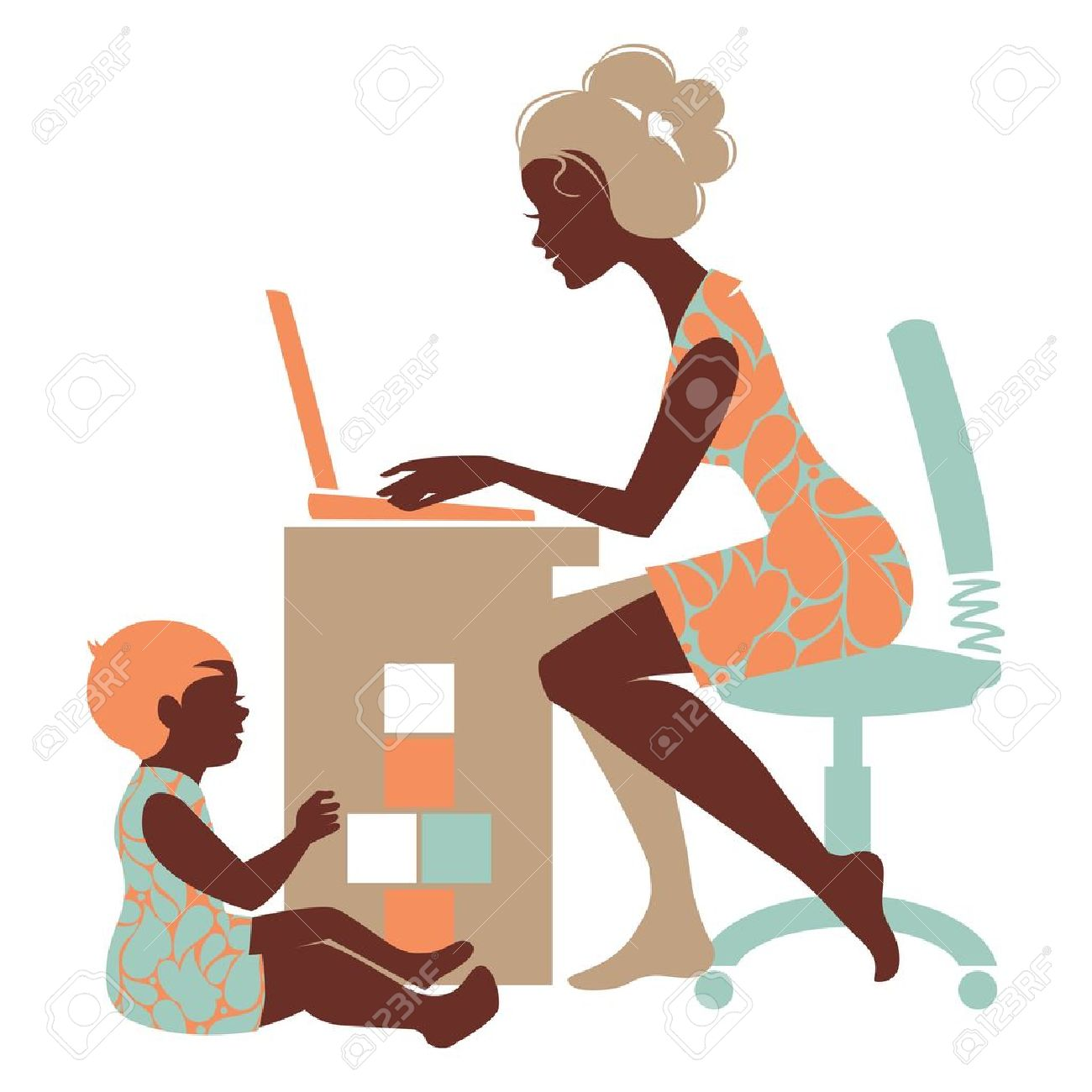 Beautiful silhouette of mother freelancer with notebook and baby playing with toys - 19351979