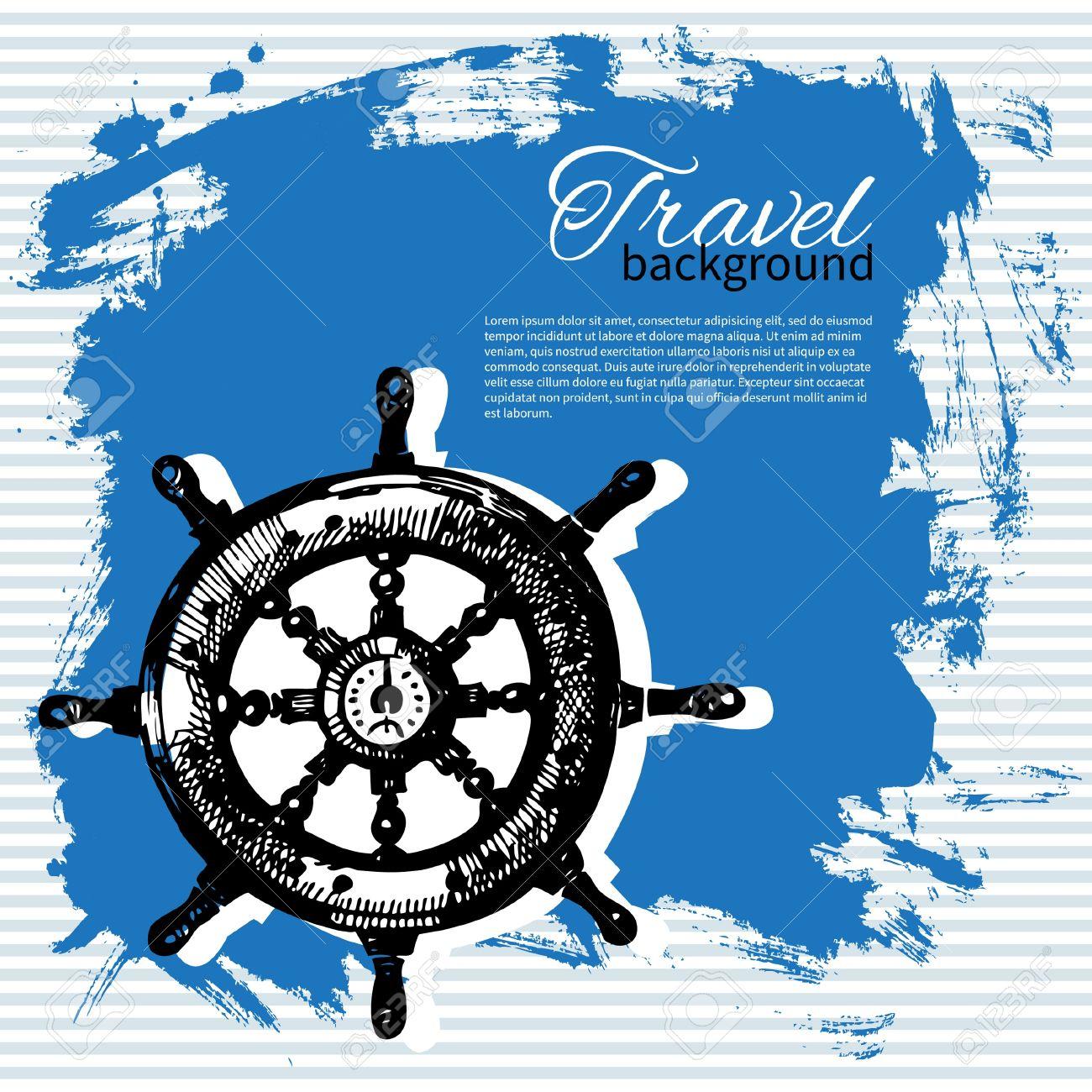 Travel vintage background  Sea nautical design  Hand drawn illustration Stock Vector - 19715139