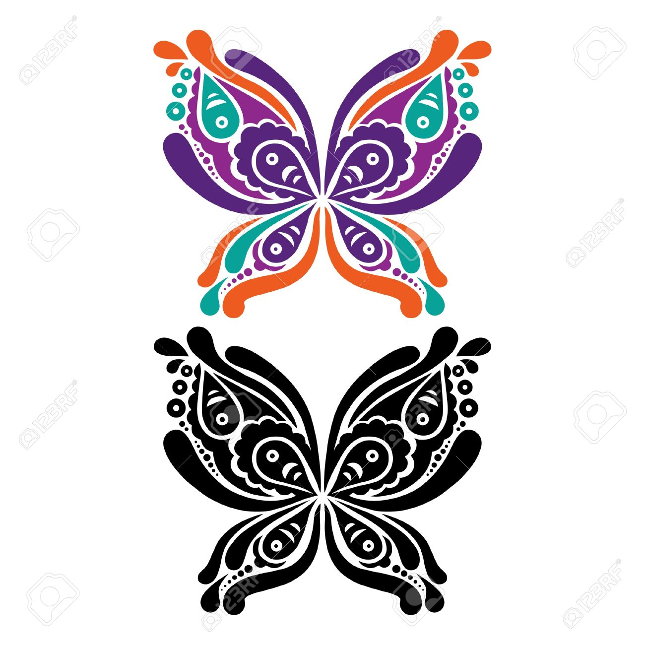 Beautiful butterfly tattoo. Artistic pattern in butterfly shape. Color and black and white version Stock Vector - 19714310