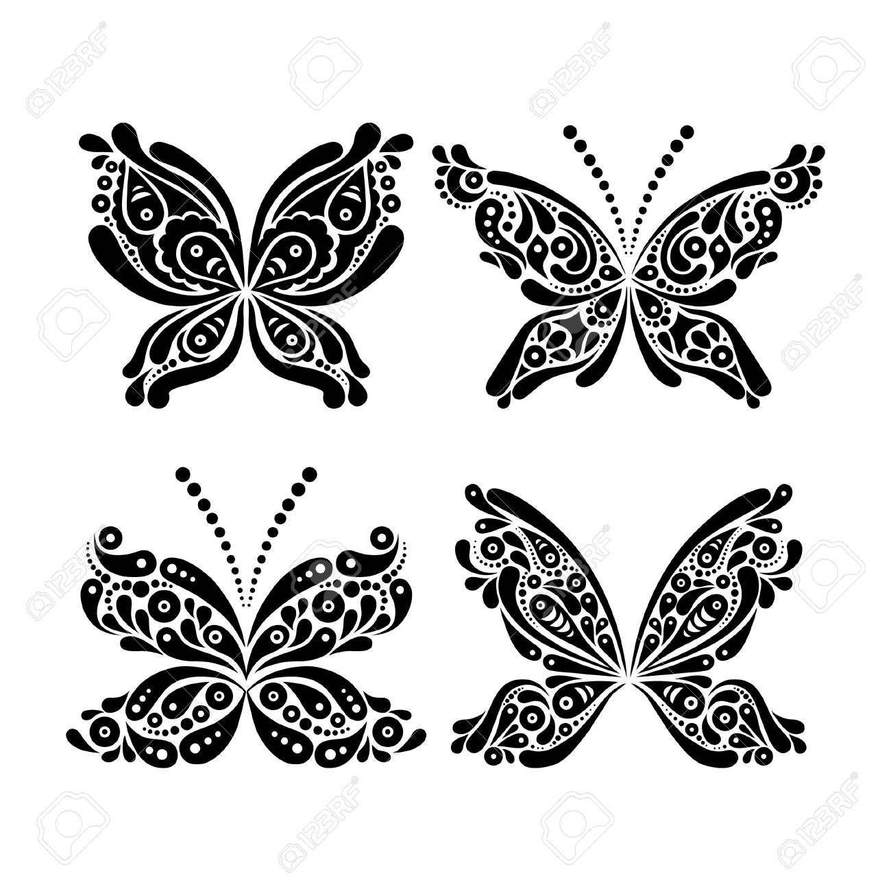 fc45cfce59d2c Set of beautiful black and white butterfly tattoo Stock Vector - 19714313