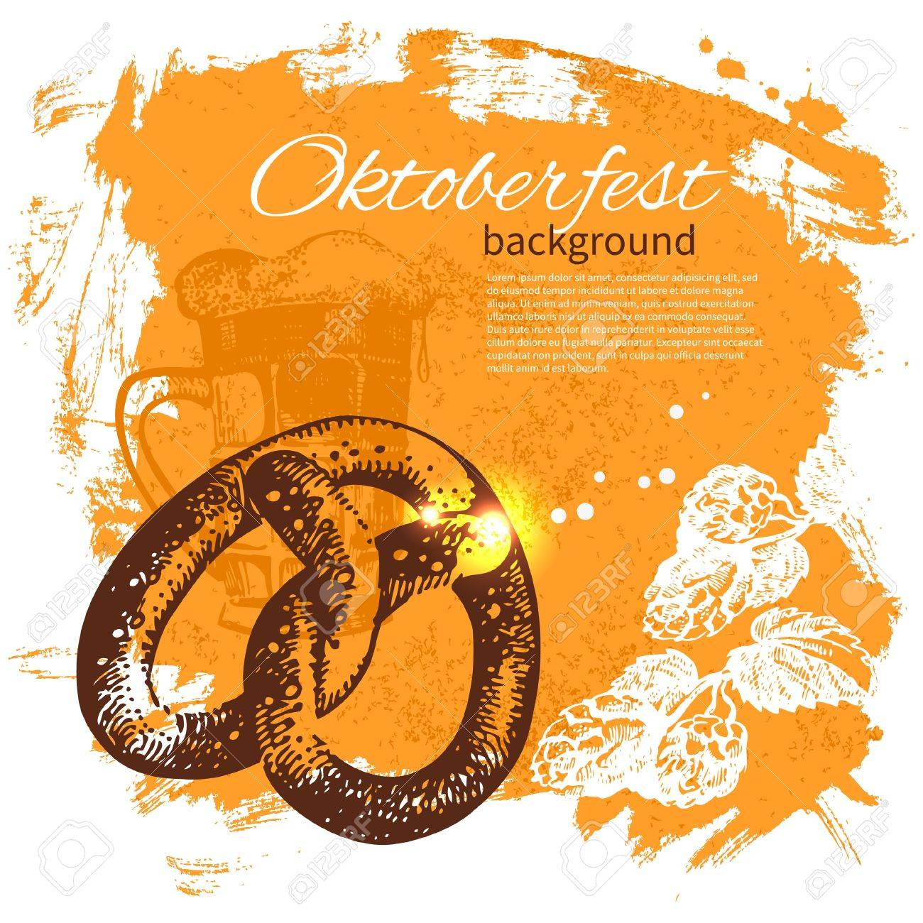 Oktoberfest vintage background. Hand drawn illustration. Splash blob retro design with beer Stock Vector - 20027929