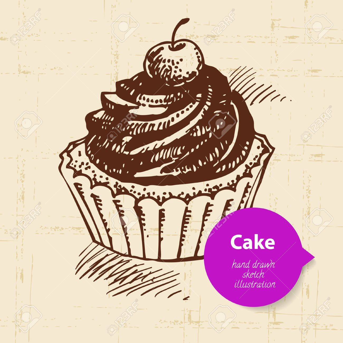 vintage sweet cake background with color bubble hand drawn