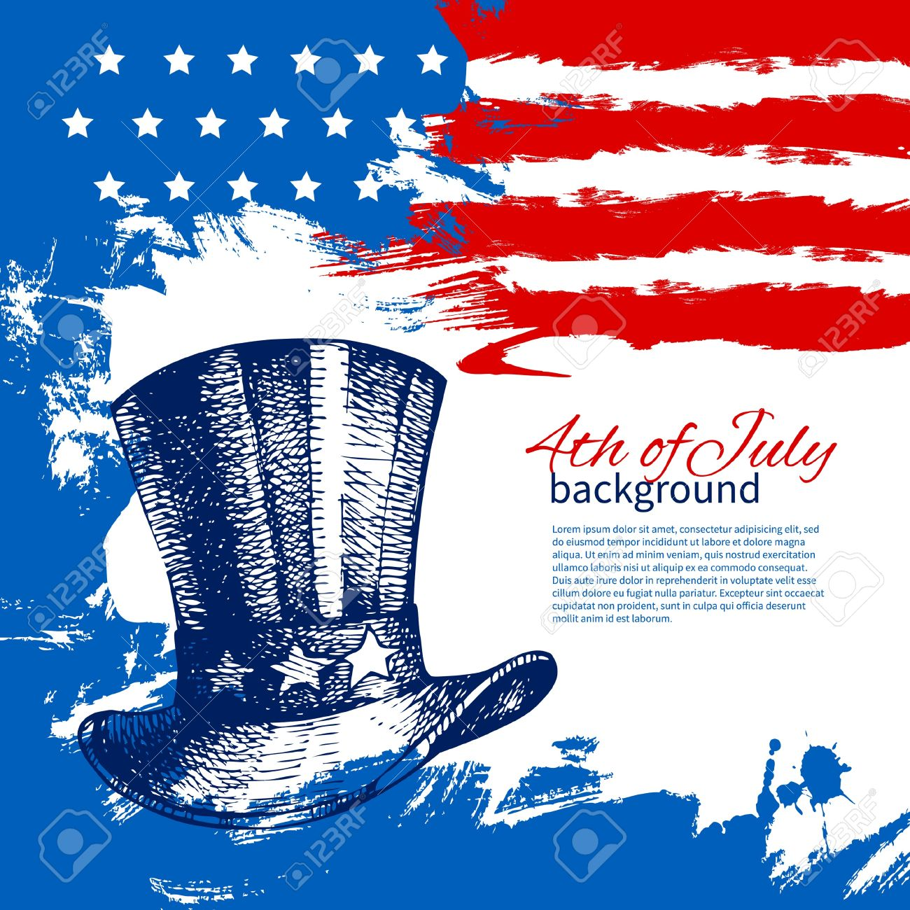 4th Of July Background With American Flag Independence Day Vintage Hand Drawn Design Stock Vector