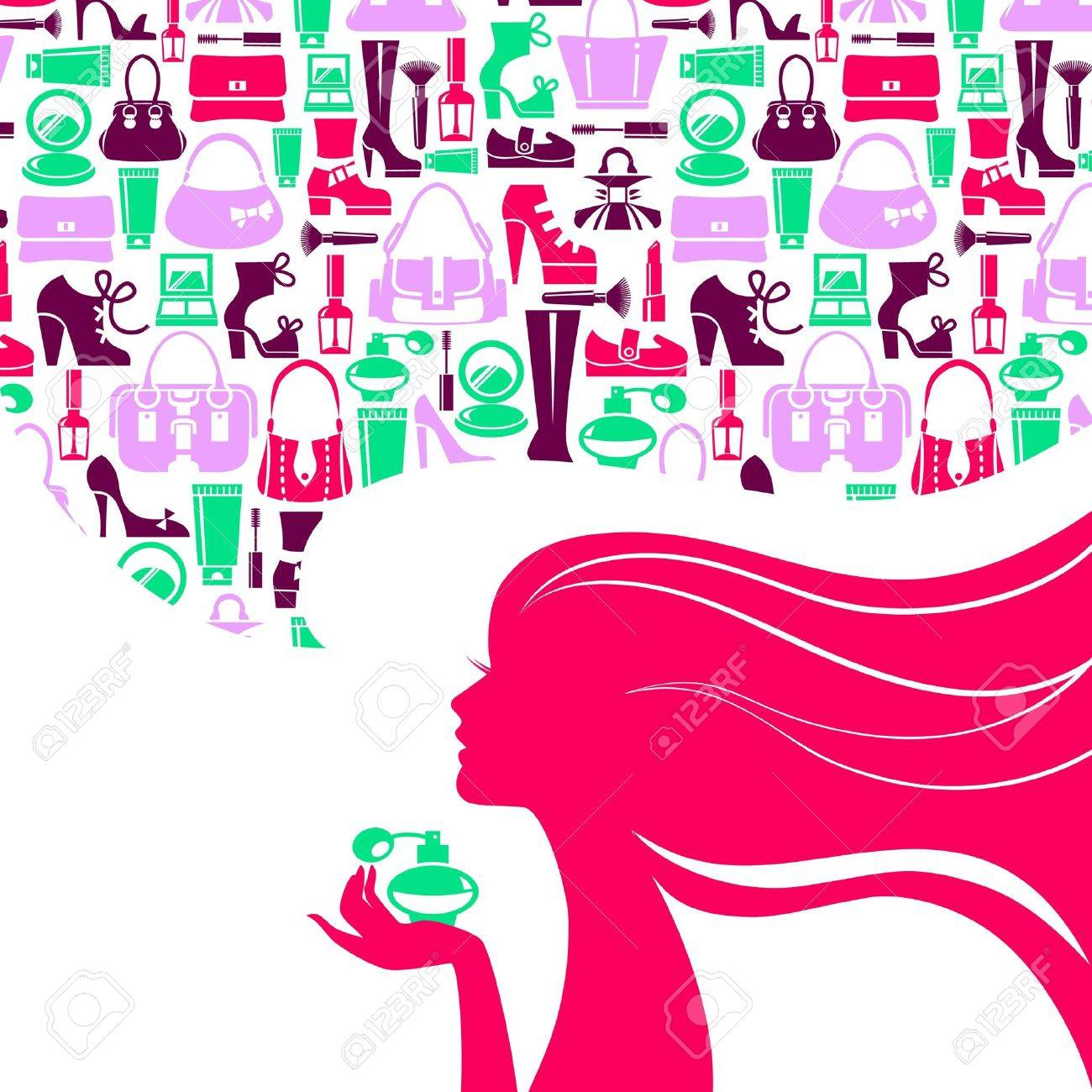 Beautiful woman silhouette with fashion icons. Shopping girl. Elegant stylish sale design Stock Vector - 20913264
