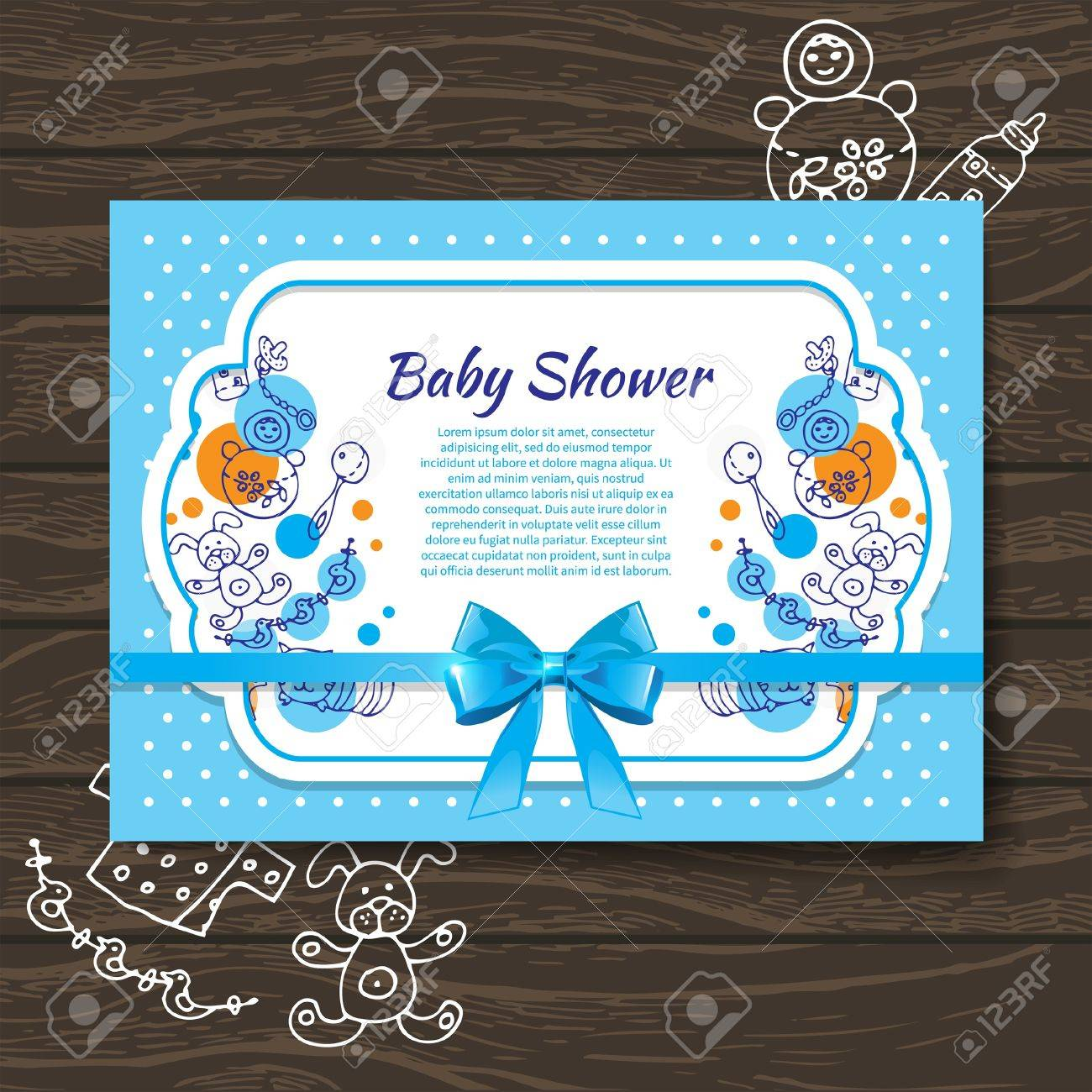 Sweet baby shower invitation with doodle baby toys royalty free sweet baby shower invitation with doodle baby toys stock vector 20913321 filmwisefo