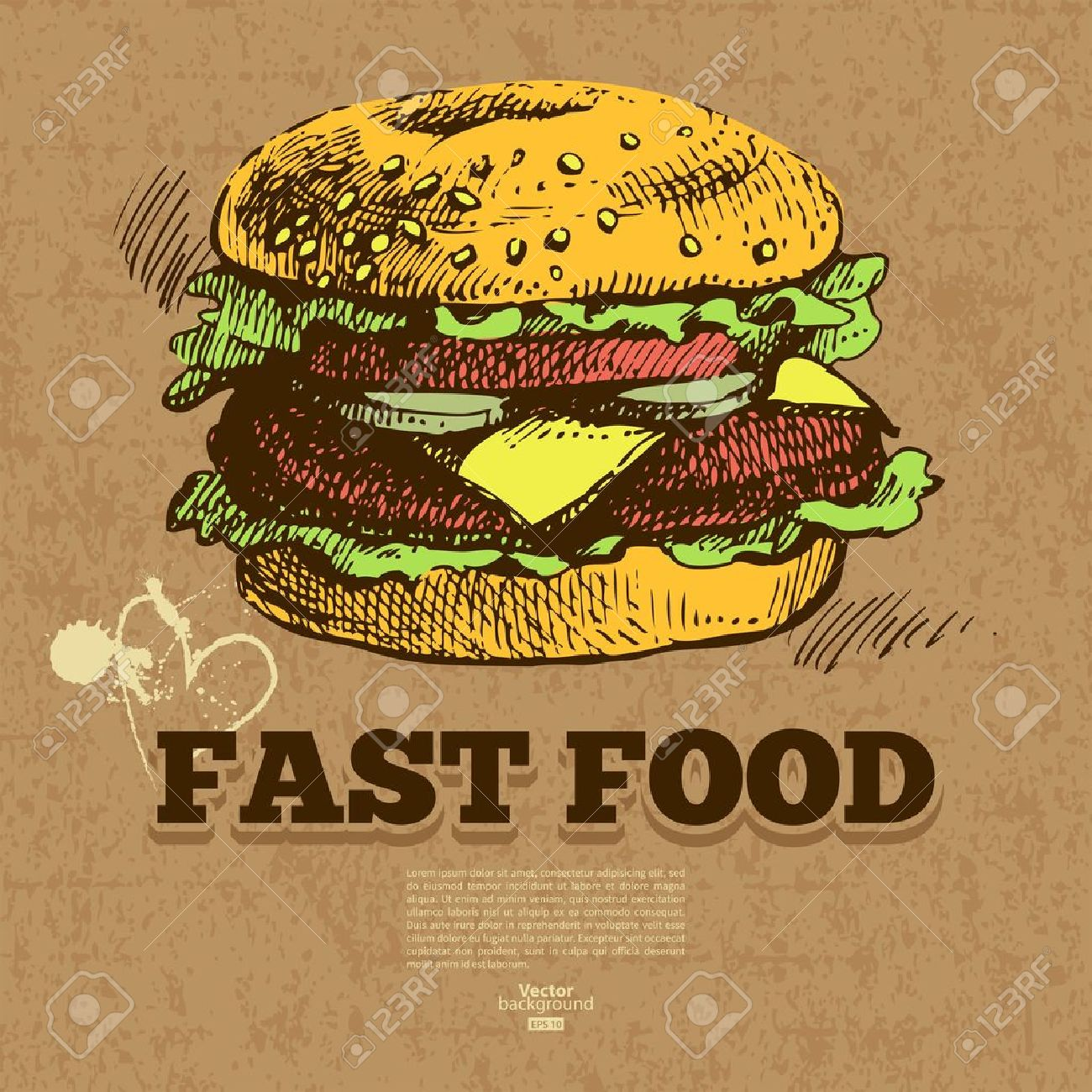 Vintage fast food background. Hand drawn illustration. Menu design Stock Vector - 20913356