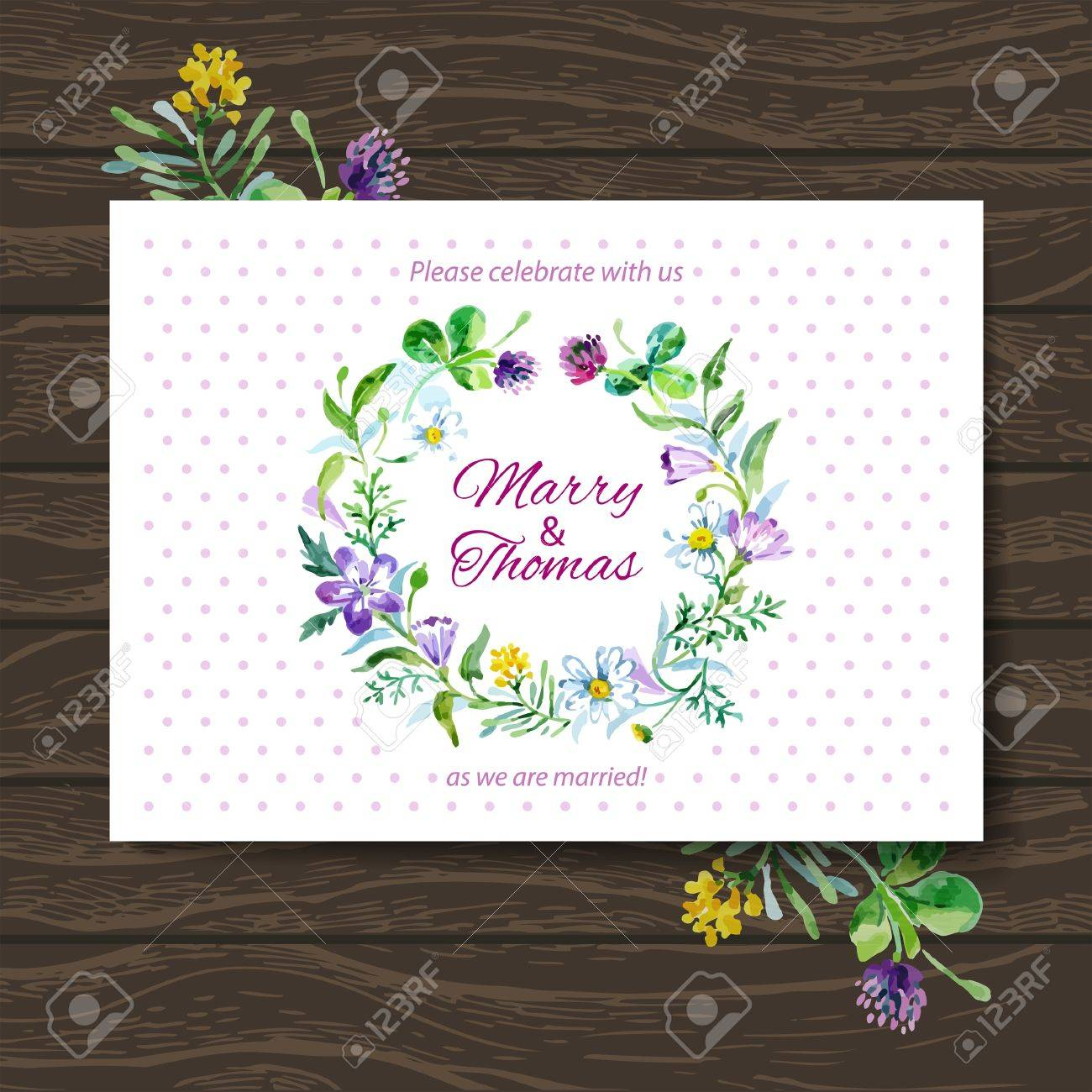 Wedding Invitation Card With Watercolor Floral Bouquet Vector Background