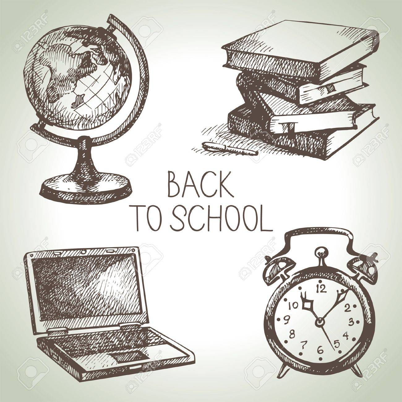 Hand drawn vector school object set. Back to school illustrations Stock Vector - 21158189