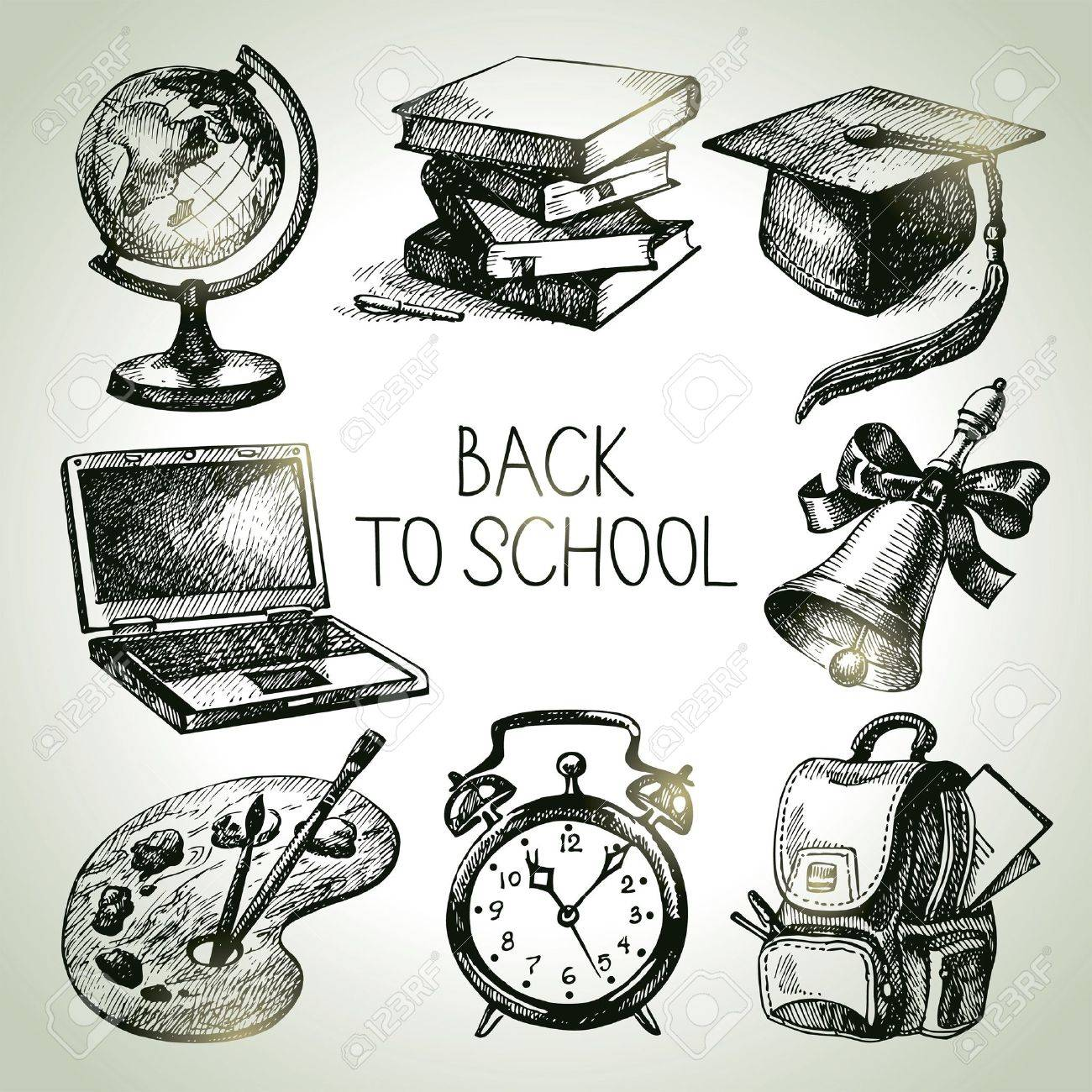 Hand drawn vector school object set. Back to school illustrations Stock Vector - 21158190