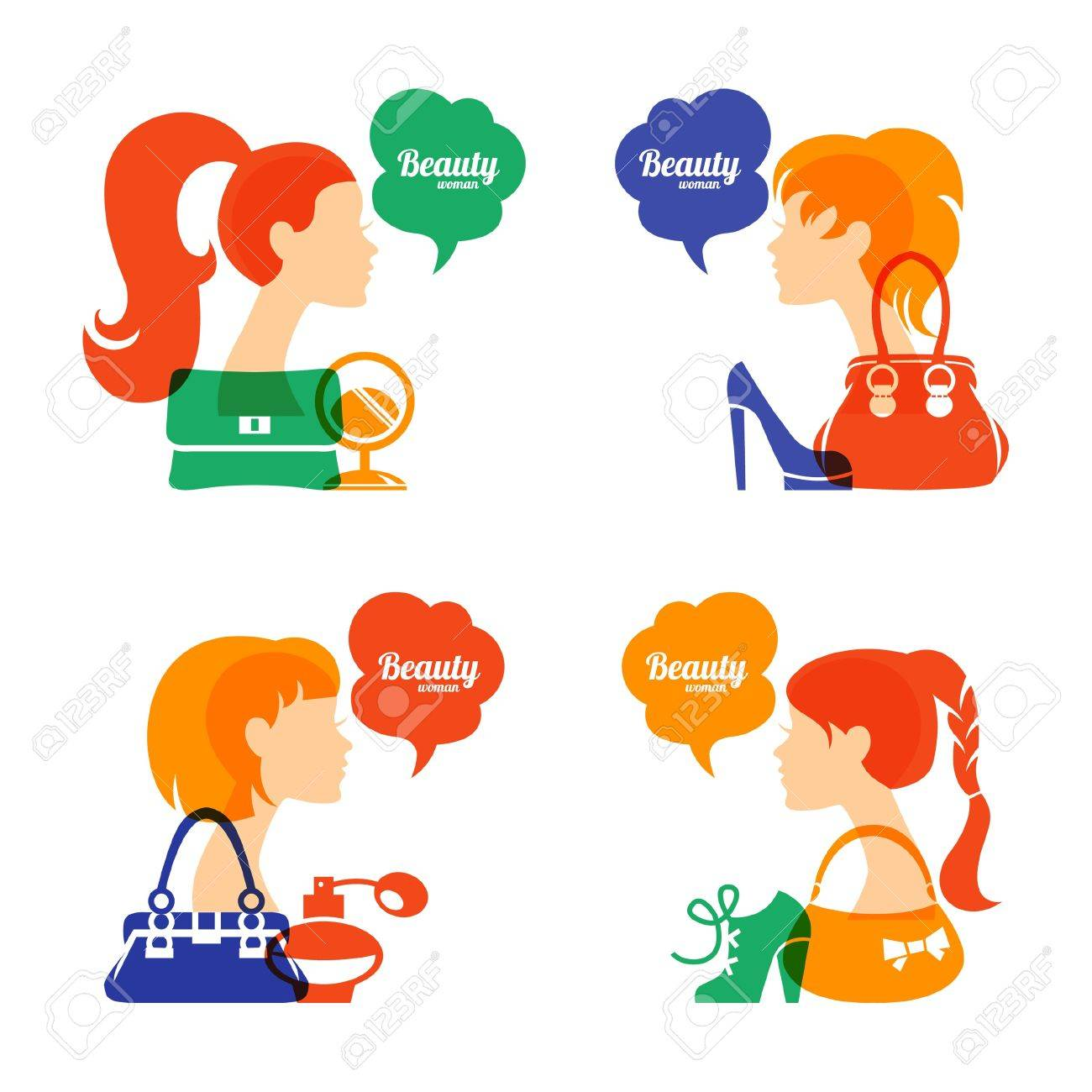 Set of beautiful girl silhouette with fashion icons. Shopping woman. Sale elegant stylish signs Stock Vector - 21531510