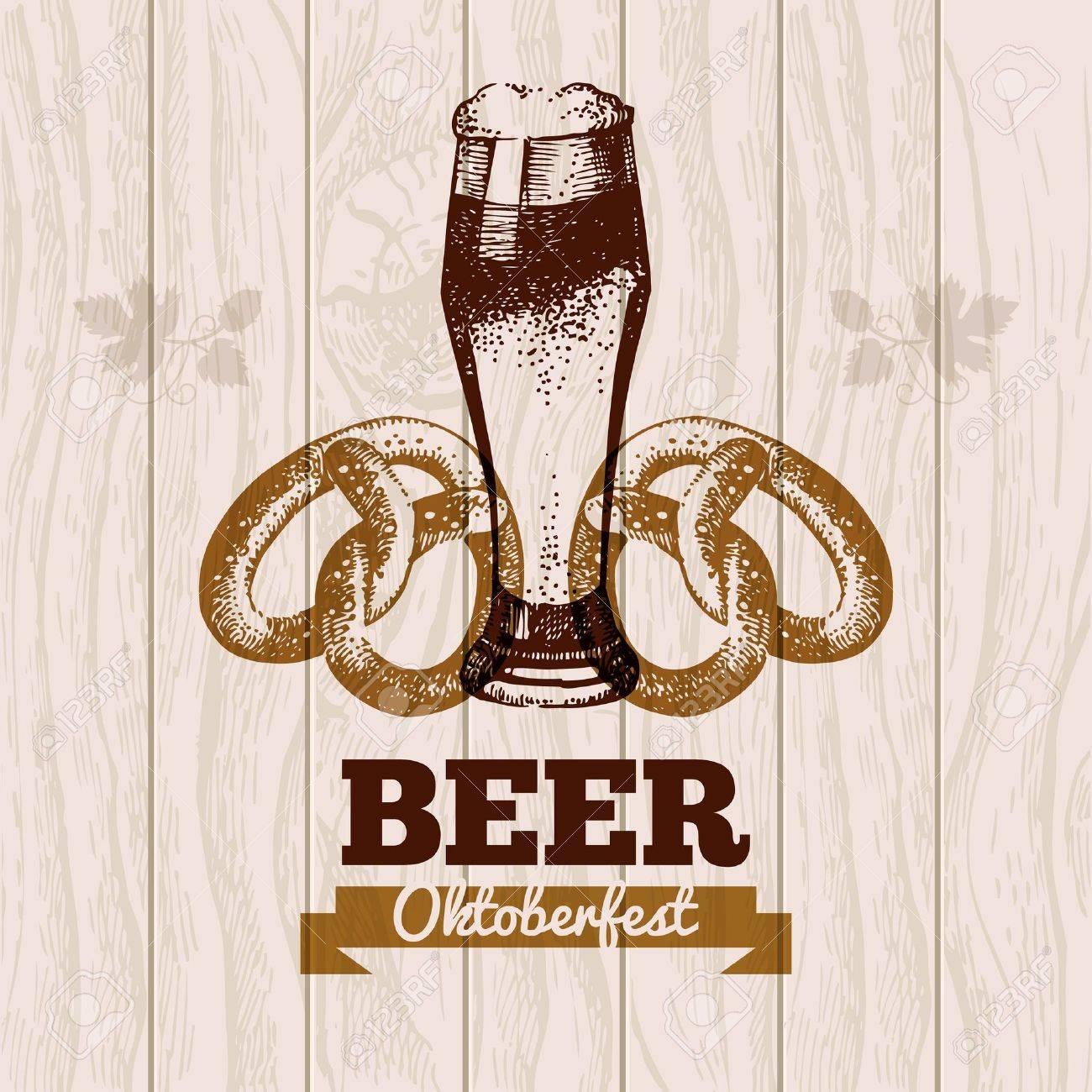 Oktoberfest vintage background. Beer hand drawn illustration. Menu design Stock Vector - 21532024