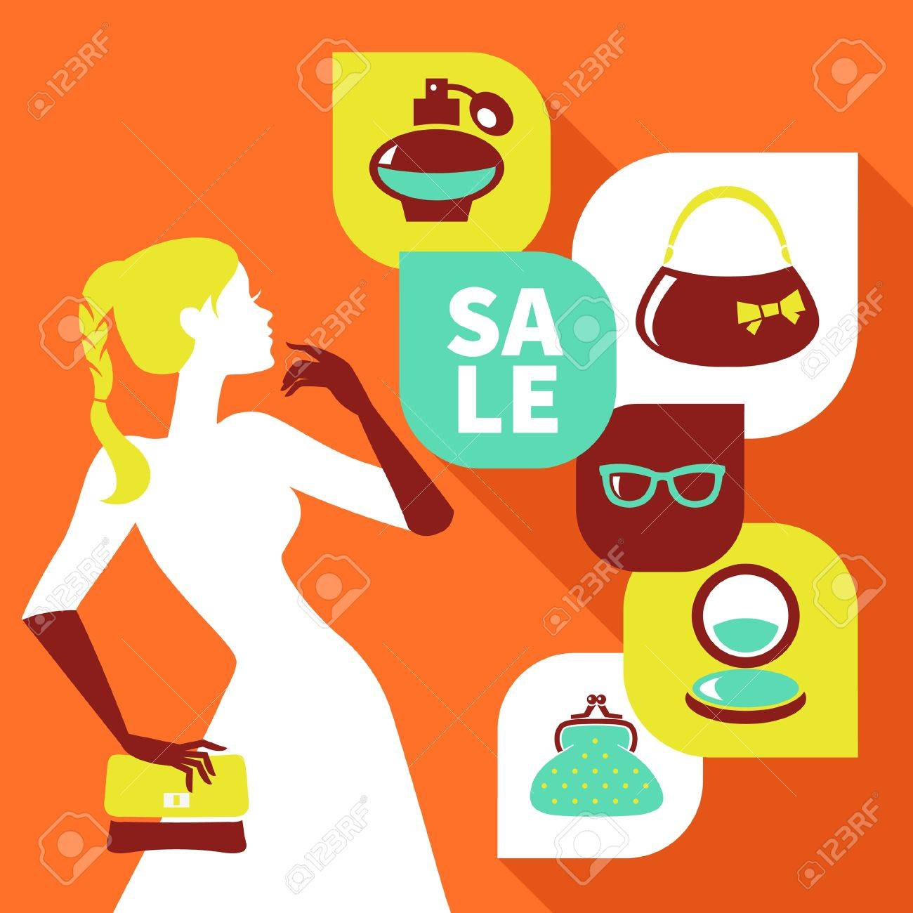 Beautiful woman silhouette with shopping icons. Stylish sale flat design Stock Vector - 21709771